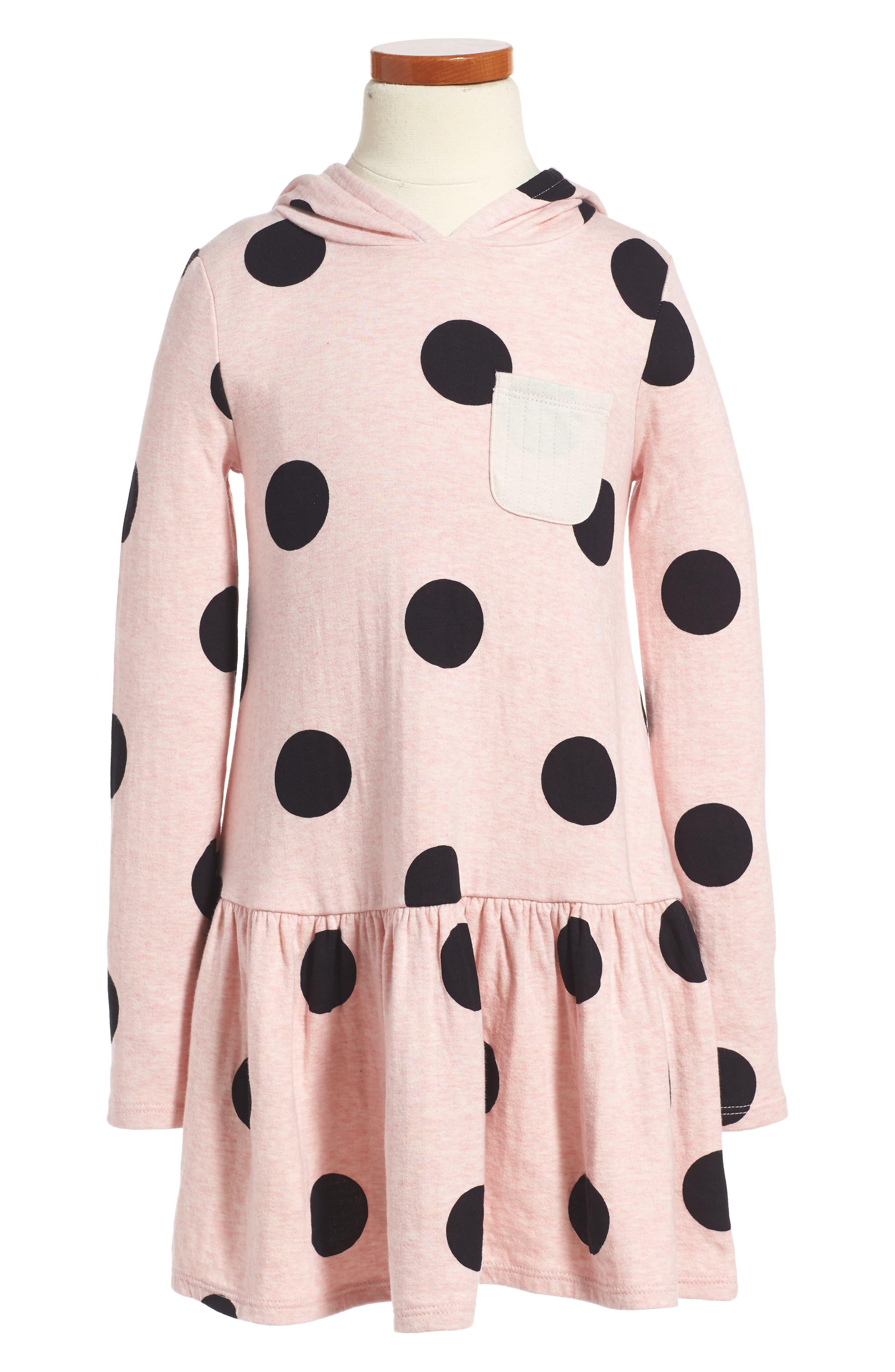 Print Hoodie Knit Dress,                         Main,                         color, Pink Glow Heather Big Dot