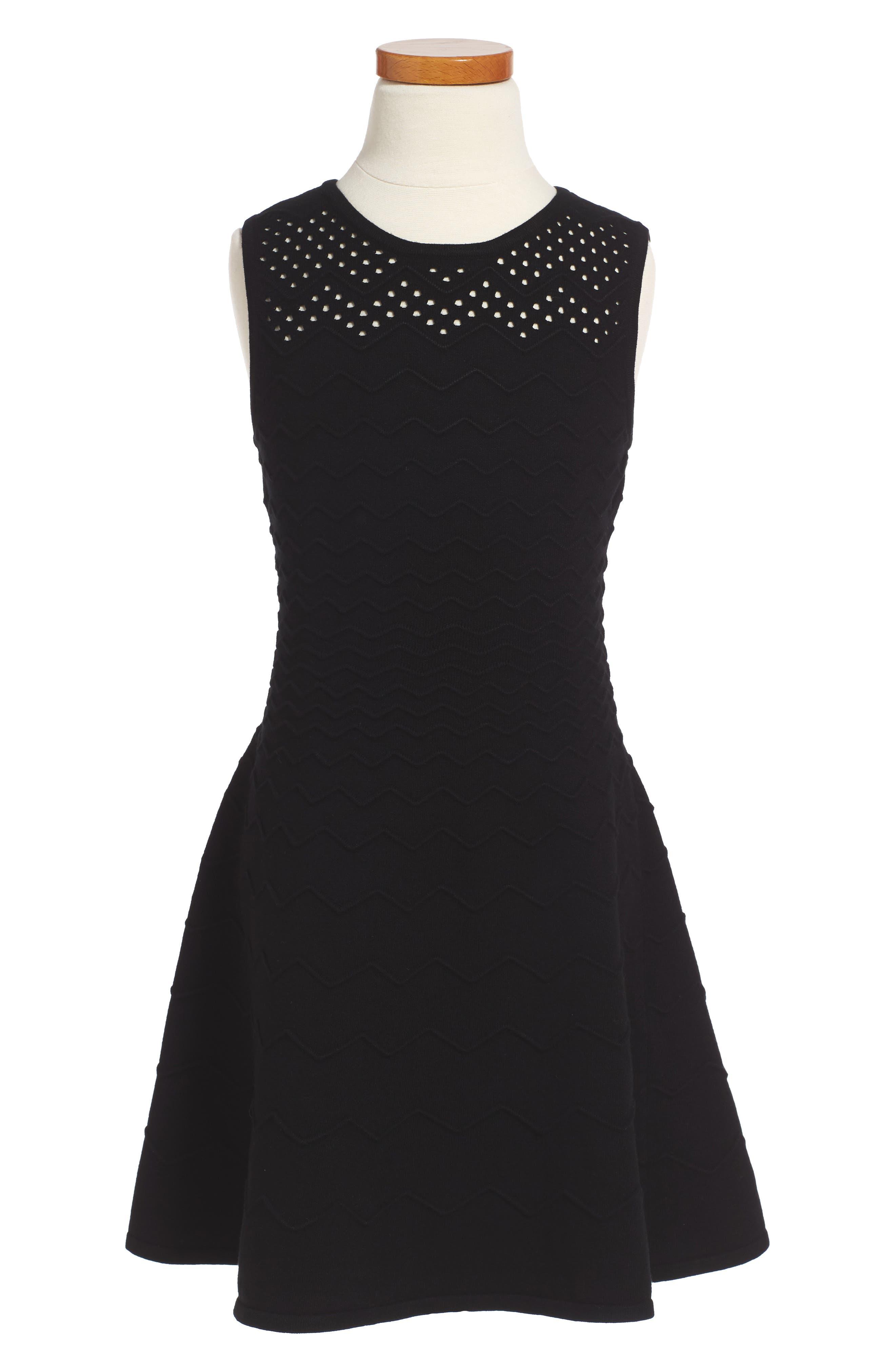 Milly Minis Chevron Ottoman Fit & Flare Dress (Toddler Girls, Little Girls & Big Girls)