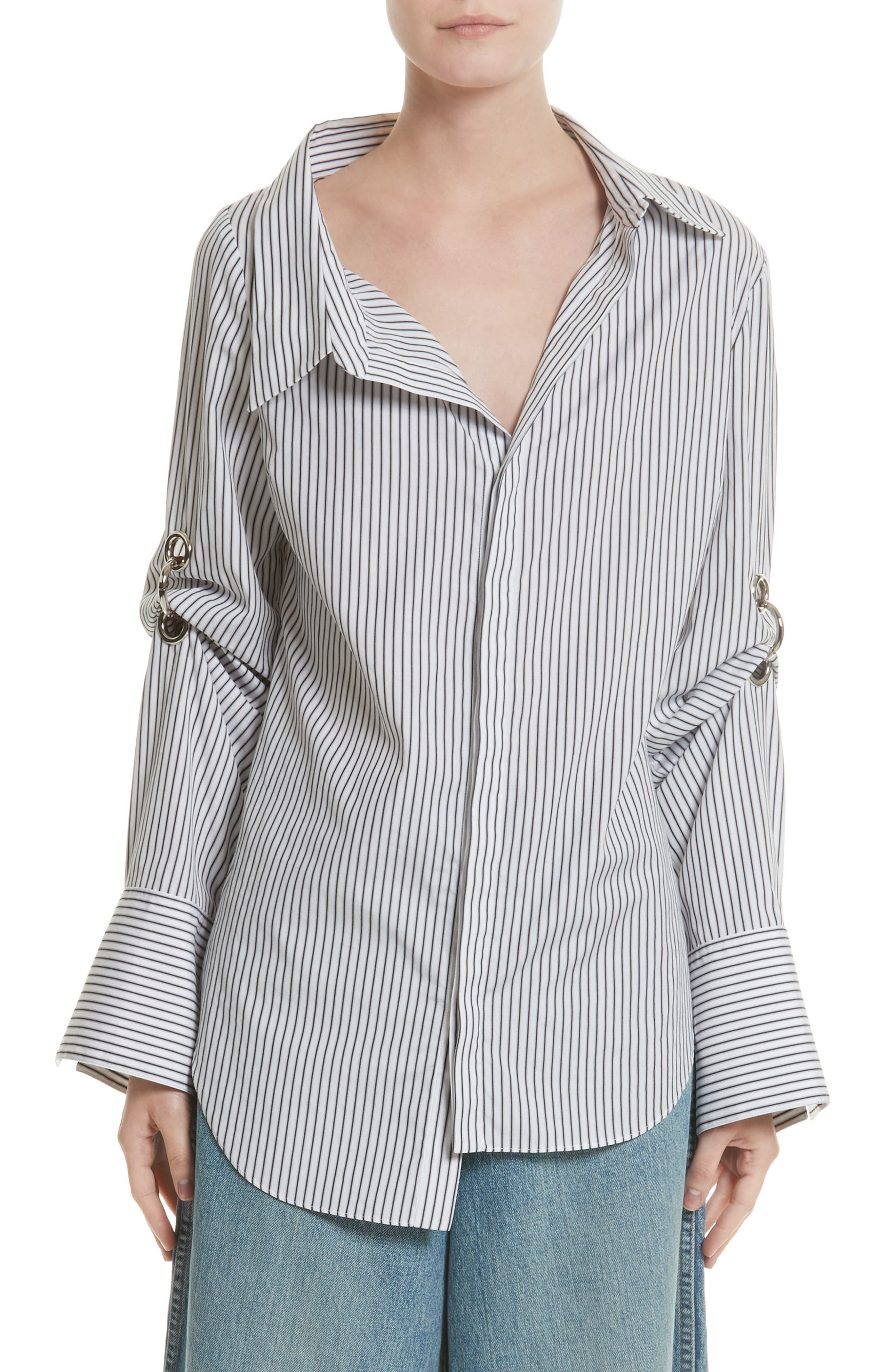 Grommet Scrunch Sleeve Shirt,                             Main thumbnail 1, color,                             Blue/ White