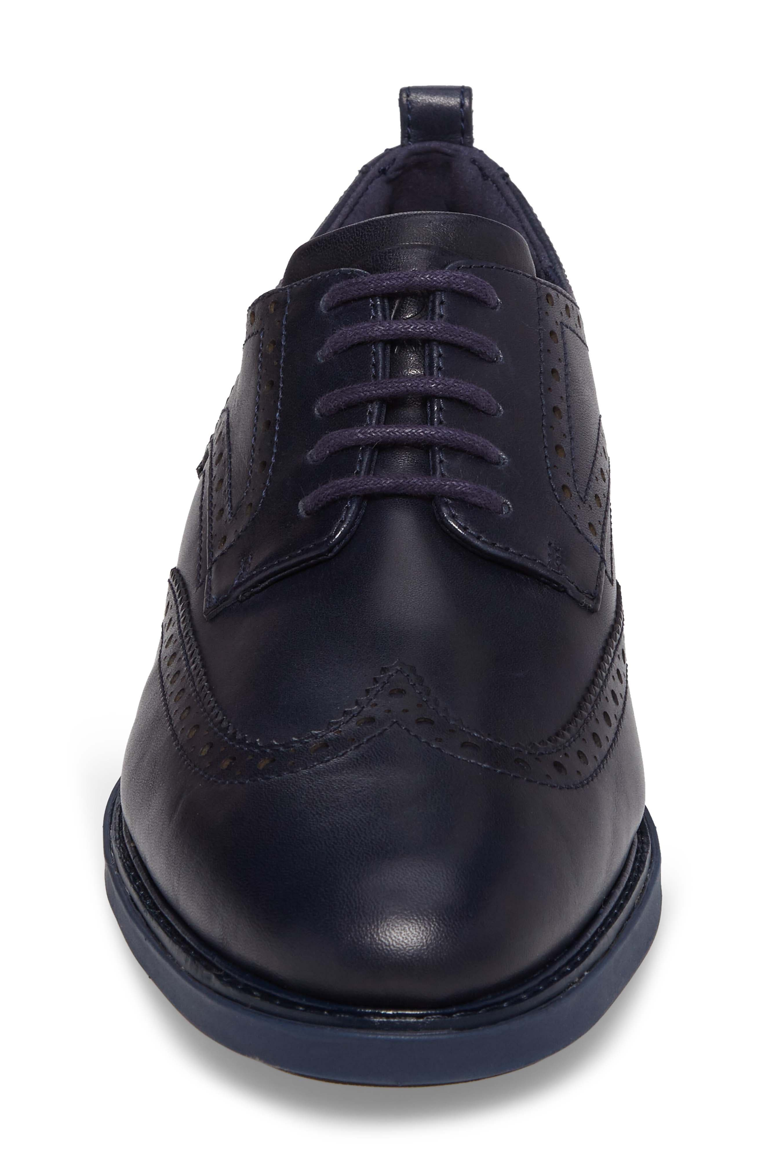 Grand Evolution Wingtip,                             Alternate thumbnail 4, color,                             Marine Blue/ Black Leather