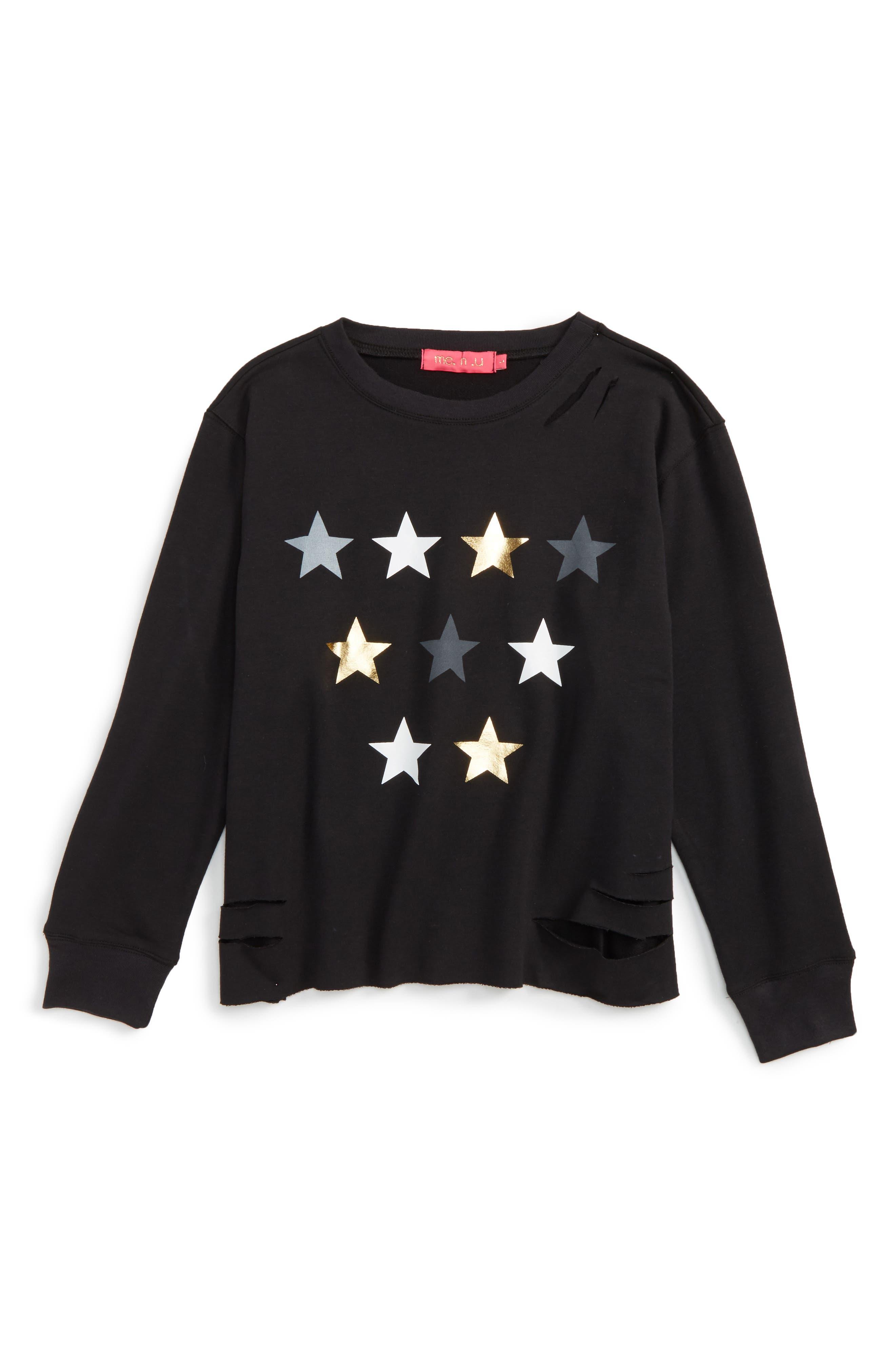 Alternate Image 1 Selected - me.n.u Star Graphic Destructed Sweatshirt (Big Girls)