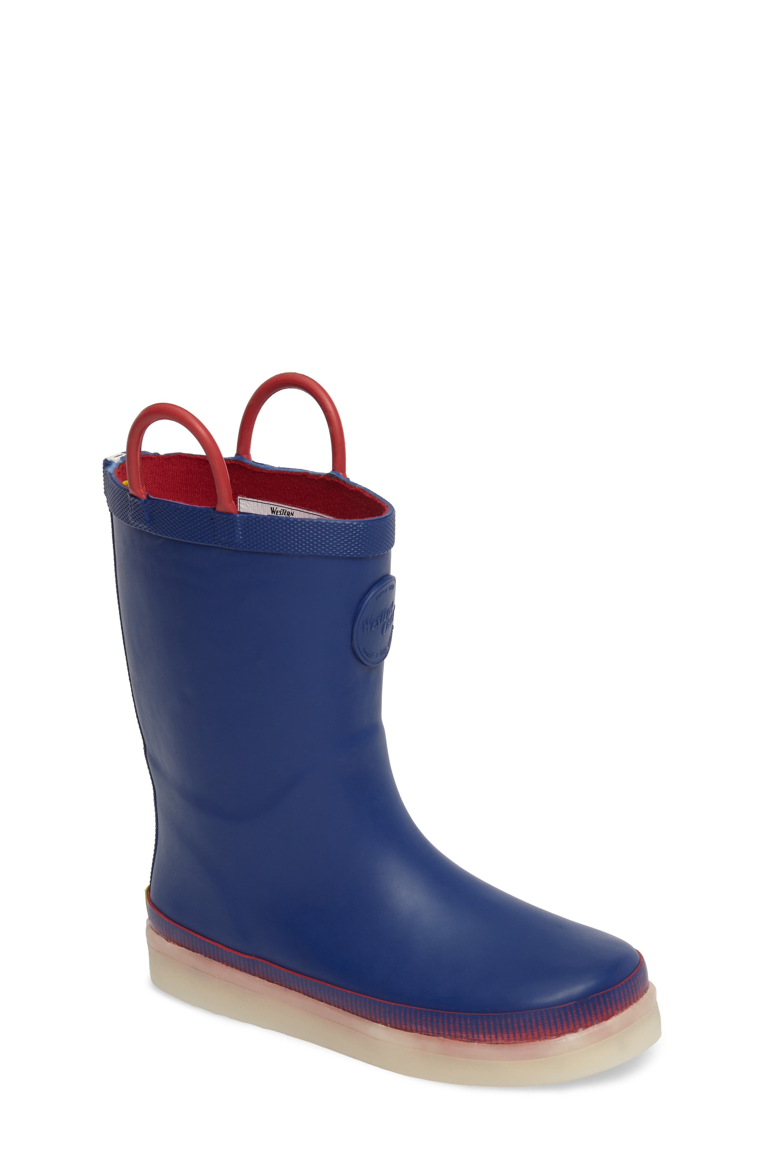 Tech Solid LED Rain Boot,                         Main,                         color, Navy