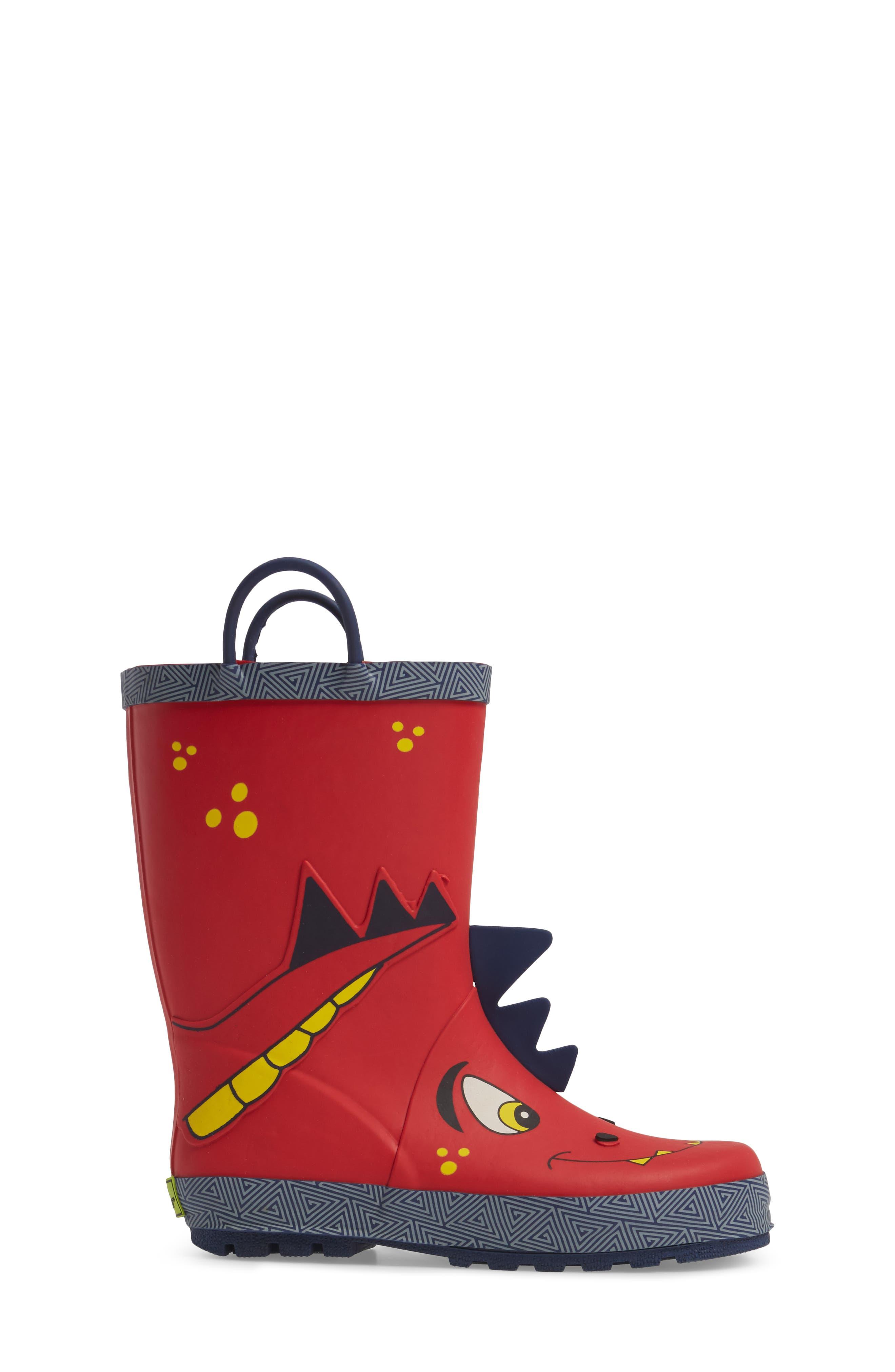 Spike Rain Boot,                             Alternate thumbnail 3, color,                             Red