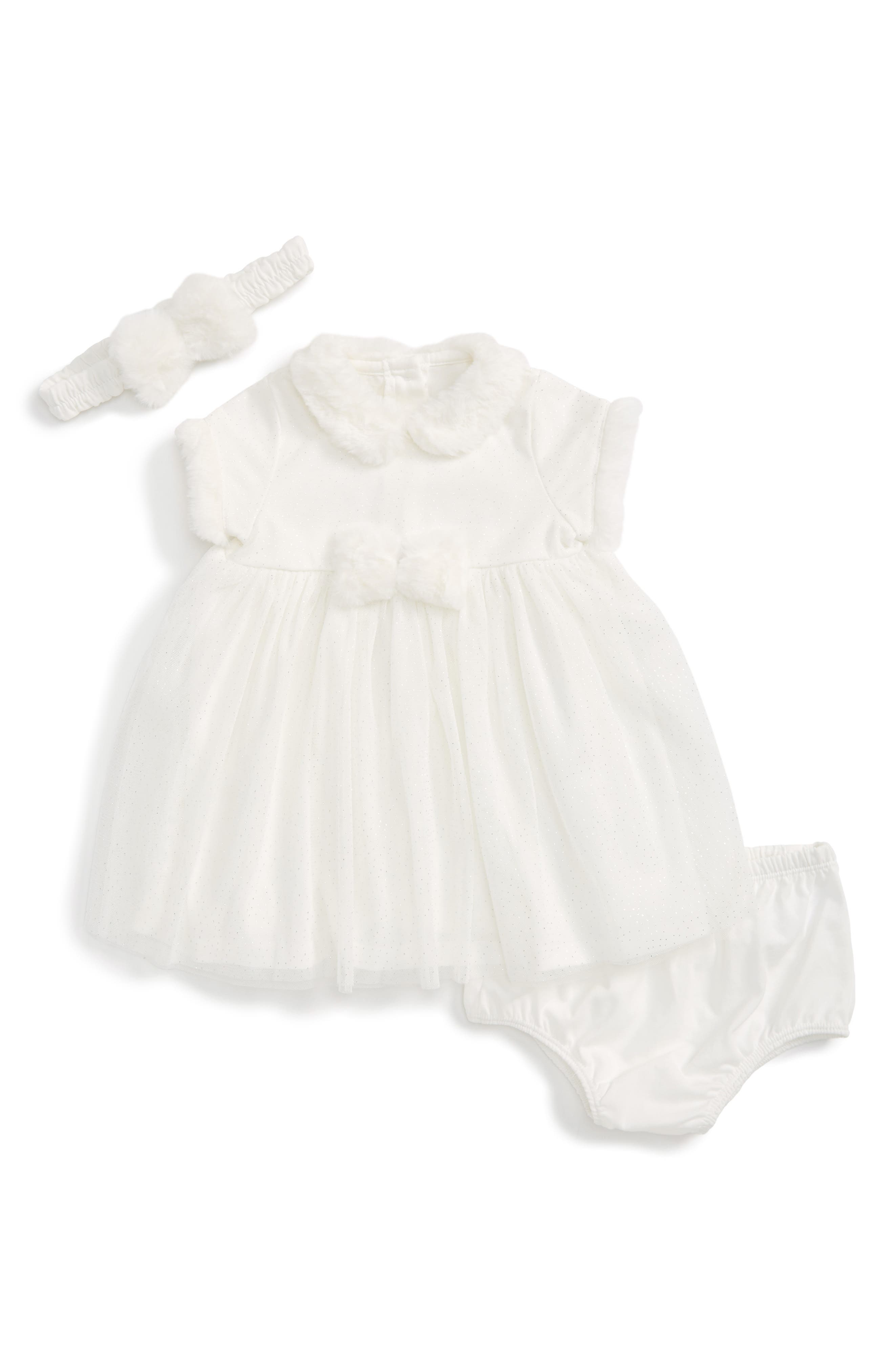 Sparkle Mesh Dress & Headband Set,                             Main thumbnail 1, color,                             Ivory