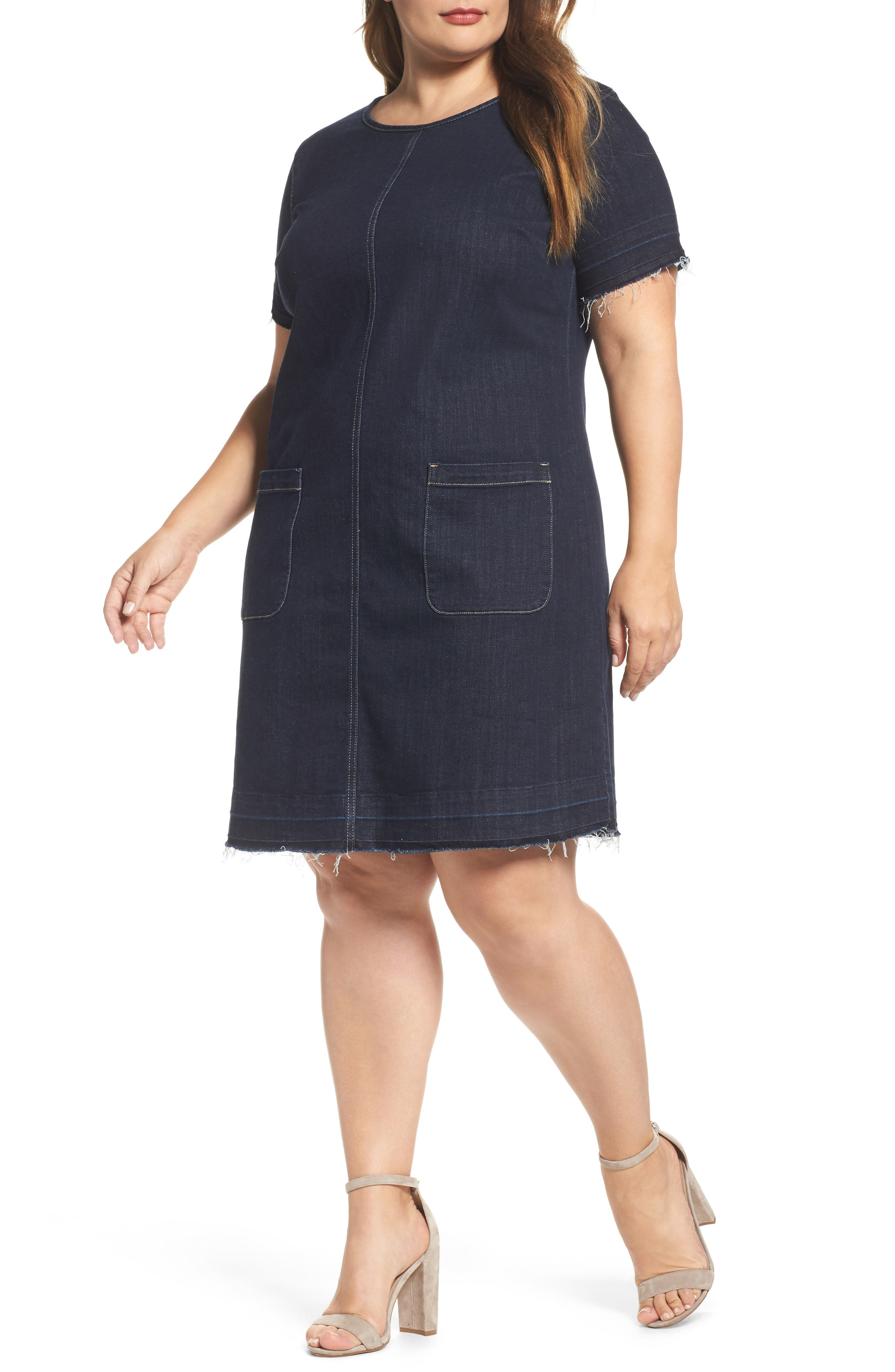 Release Hem Denim Dress,                         Main,                         color, Dark Authentic