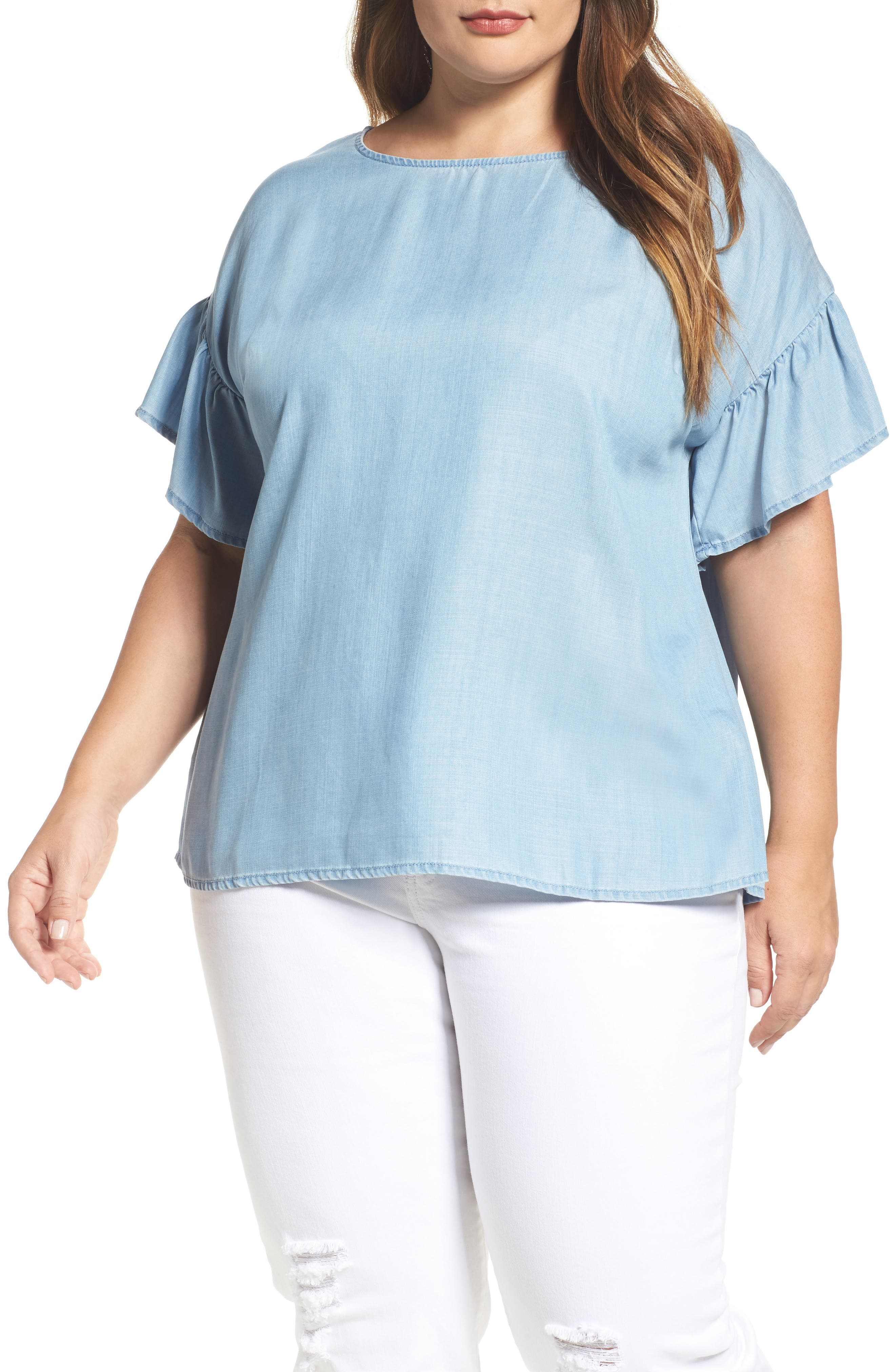Alternate Image 1 Selected - Two by Vince Camuto Ruffle Sleeve Chambray Top (Plus Size)