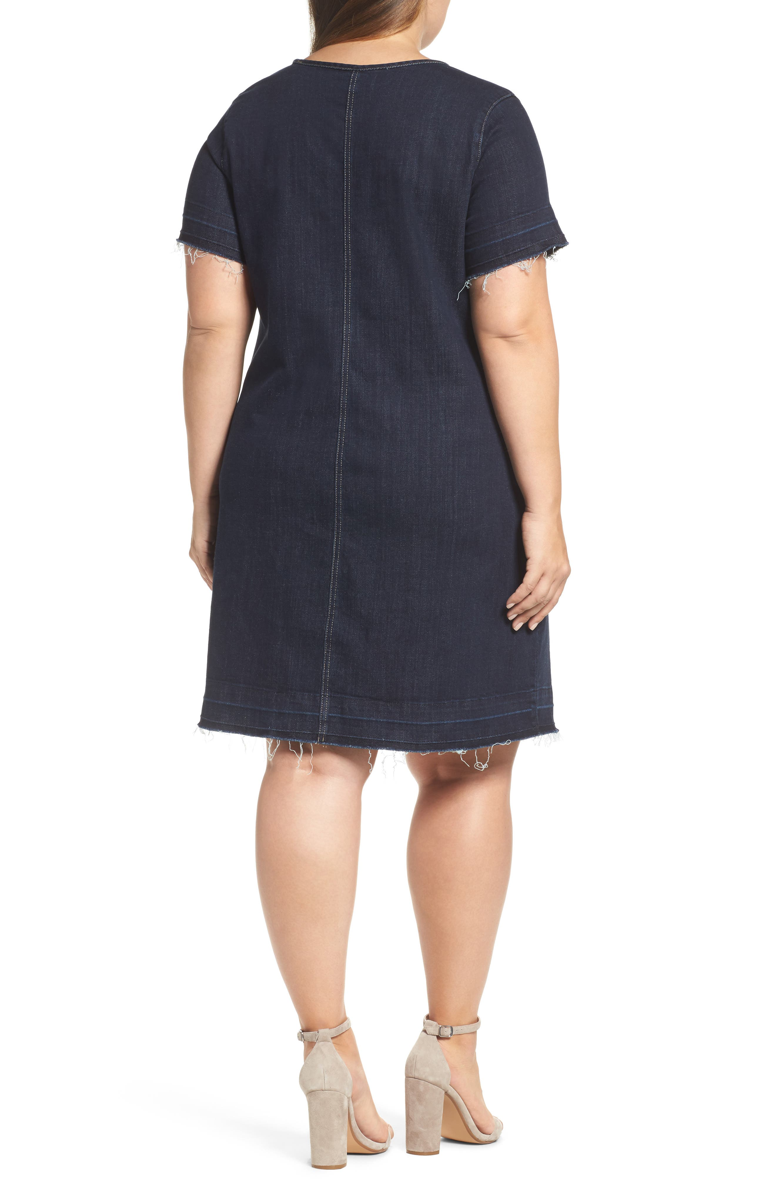 Alternate Image 2  - Two by Vince Camuto Release Hem Denim Dress (Plus Size)