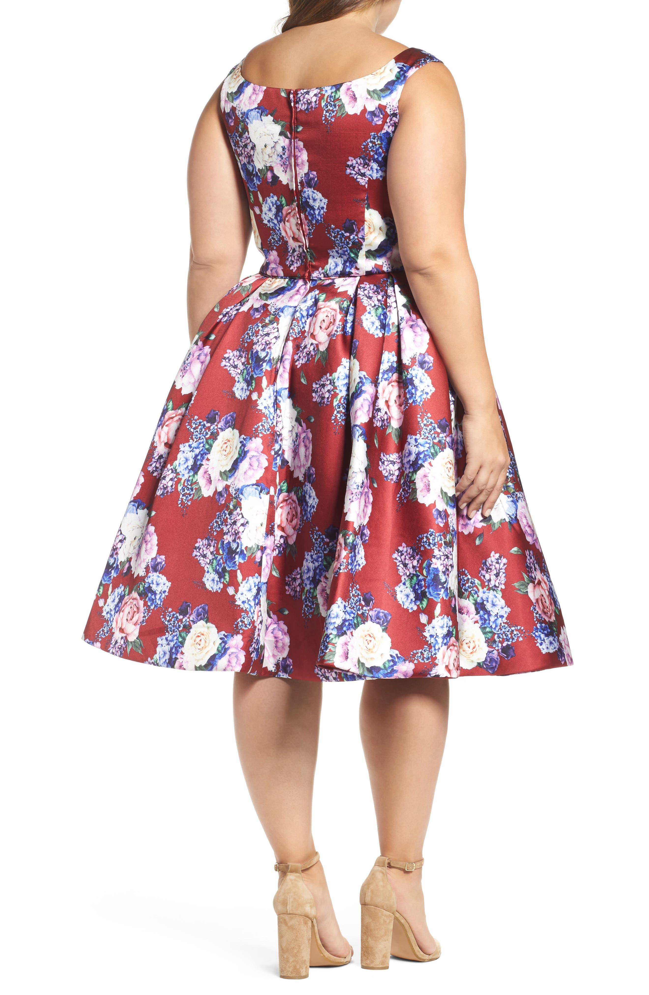 Floral Fit & Flare Dress,                             Alternate thumbnail 2, color,                             Burgundy/ Multi