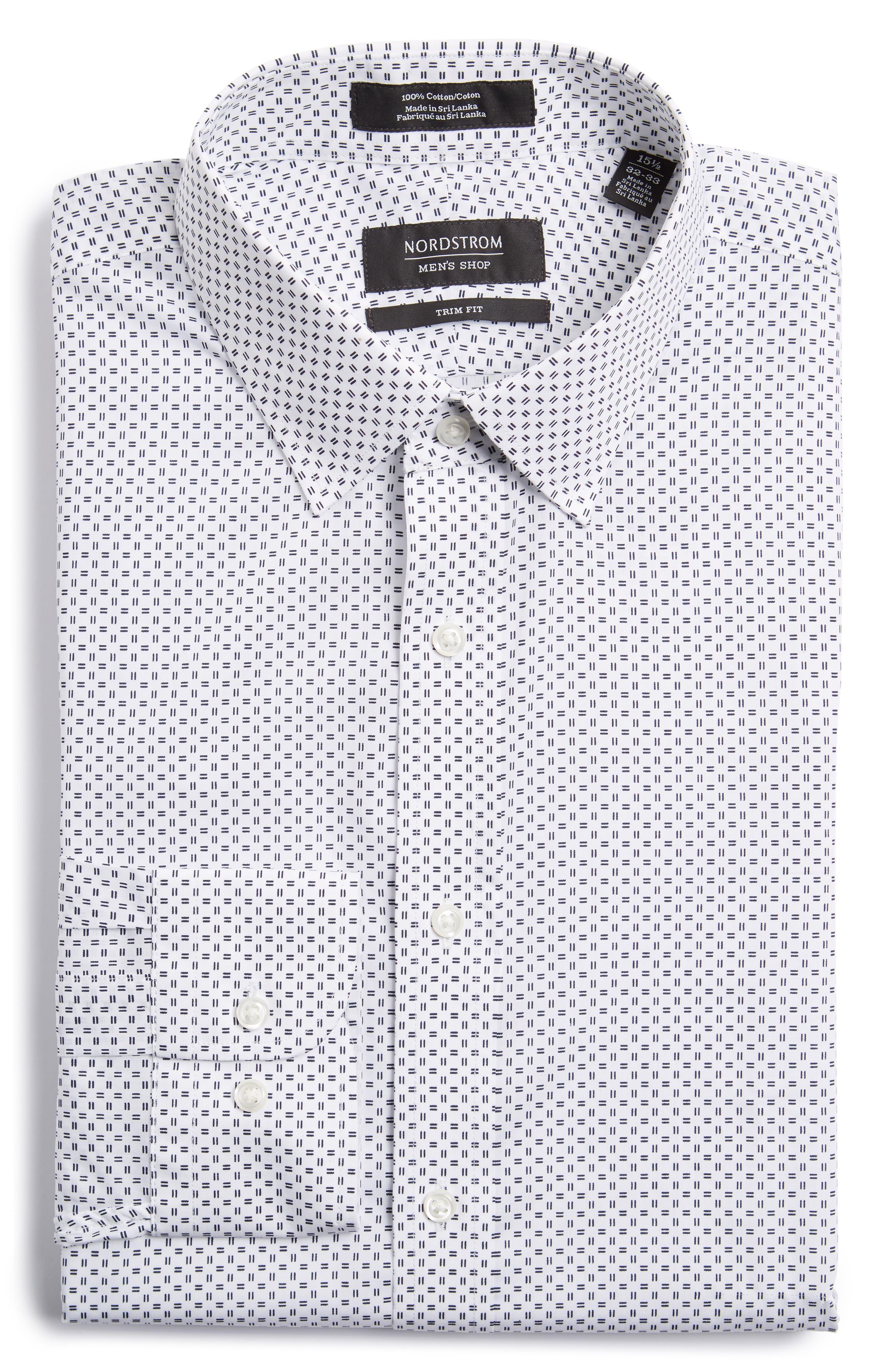 Trim Fit Print Dress Shirt,                         Main,                         color, White Navy Evening