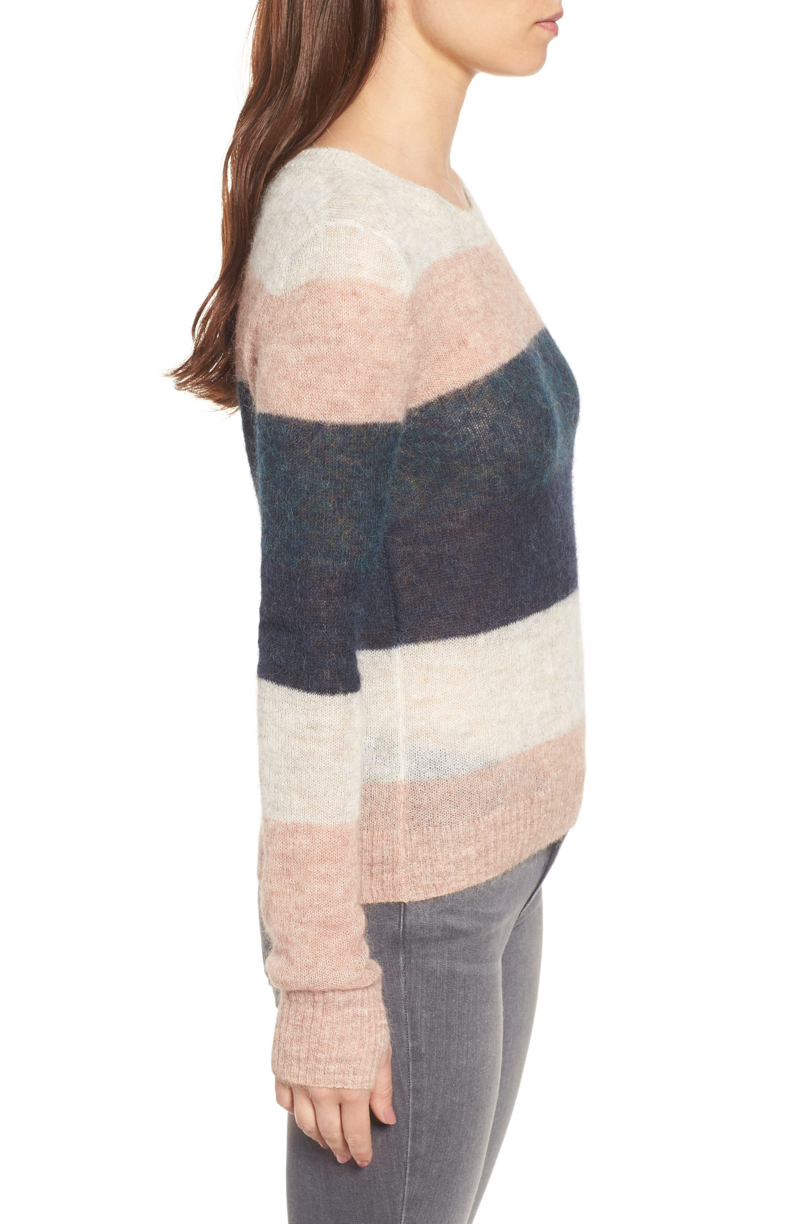 Stripe Alpaca Blend Sweater,                             Alternate thumbnail 3, color,                             Fall Multi Stripe
