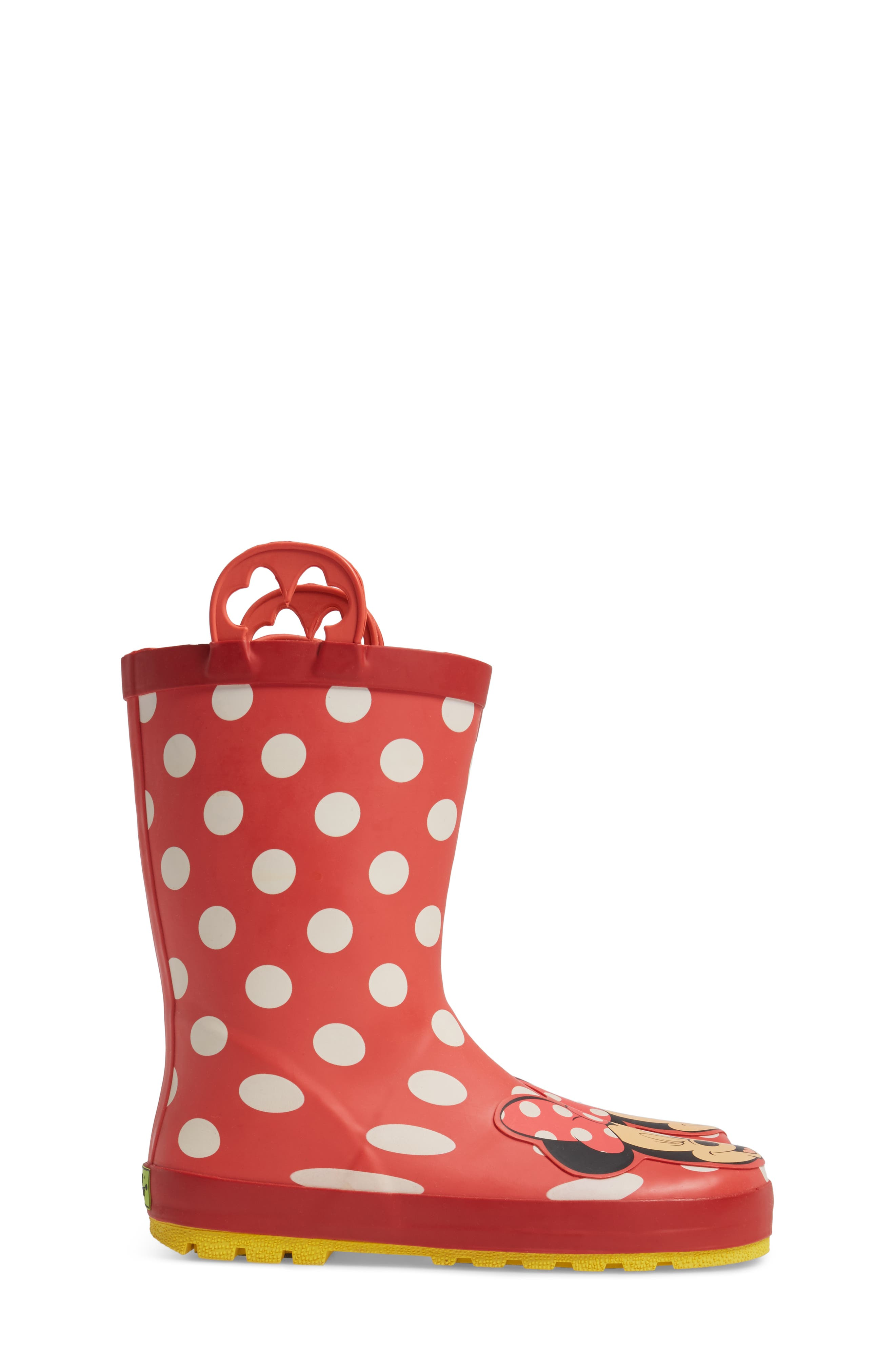 Minnie Mouse Rain Boot,                             Alternate thumbnail 3, color,                             Red