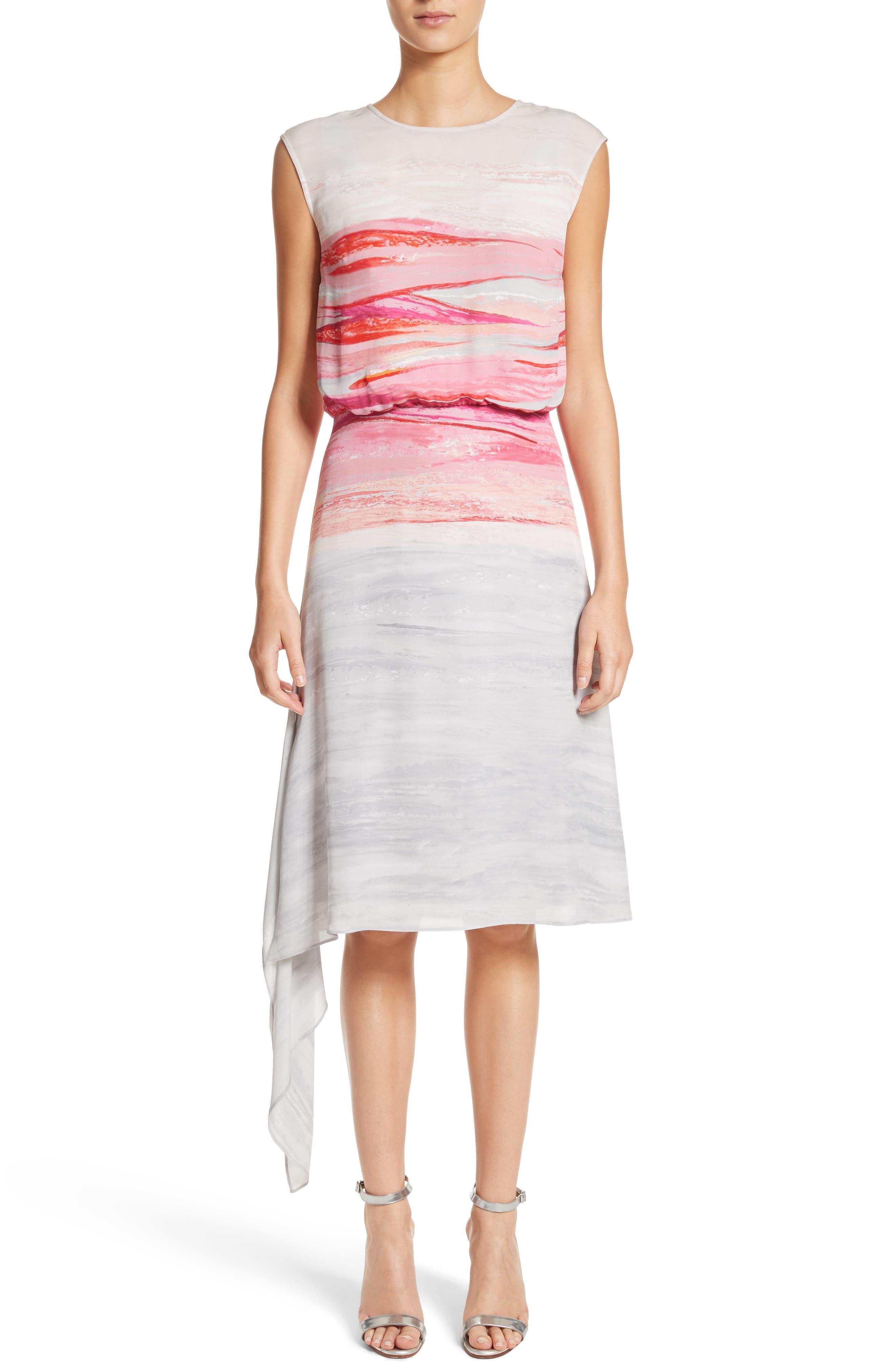 Alternate Image 1 Selected - St. John Collection Textured Brushstroke Print Silk Satin Dress