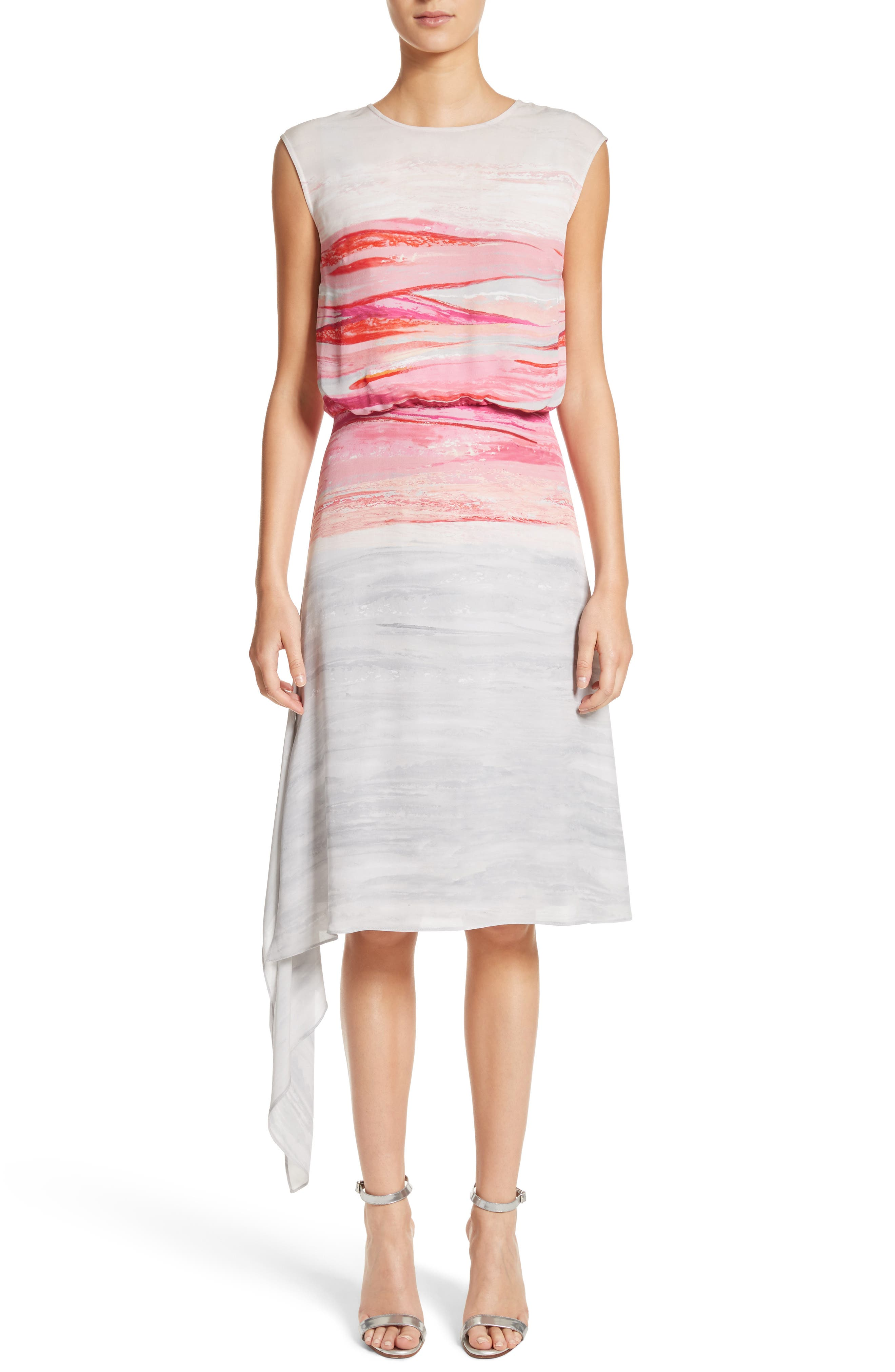 Textured Brushstroke Print Silk Satin Dress,                         Main,                         color, Bright Coral Multi