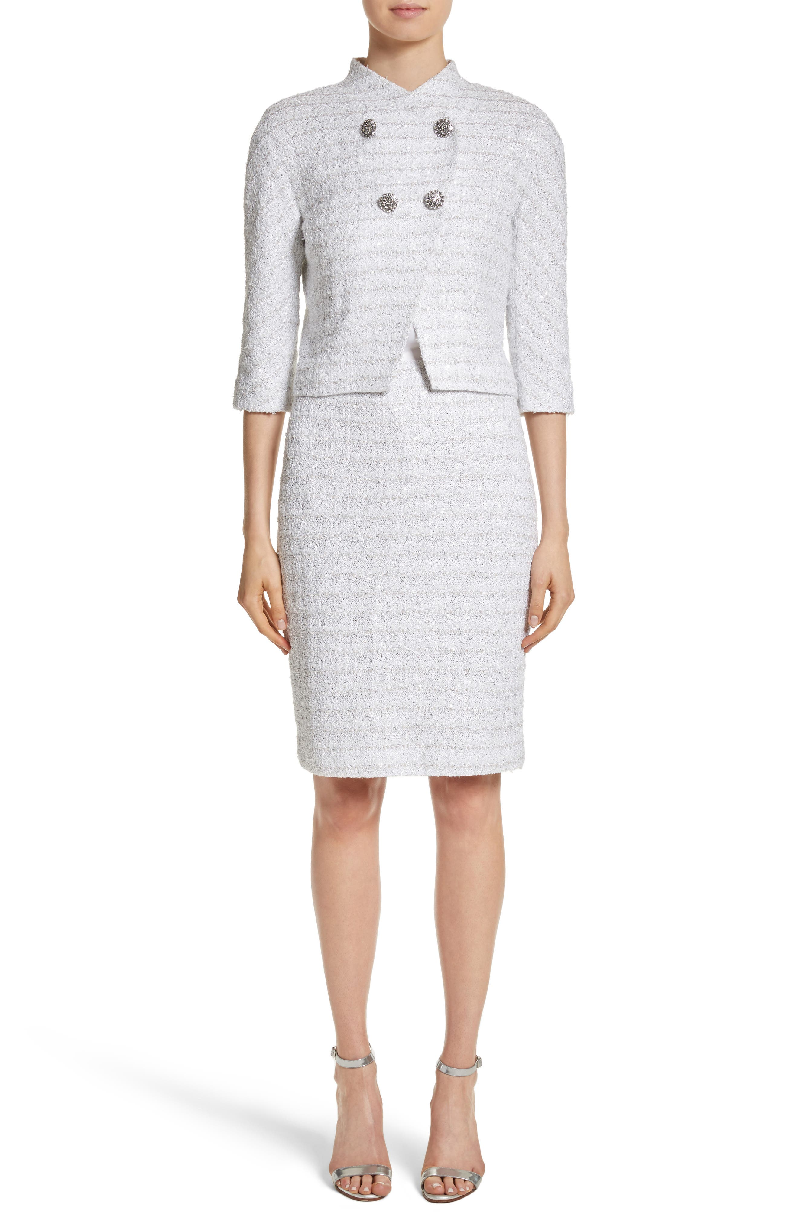 Frosted Metallic Tweed Pencil Skirt,                             Alternate thumbnail 8, color,                             Bianco Multi