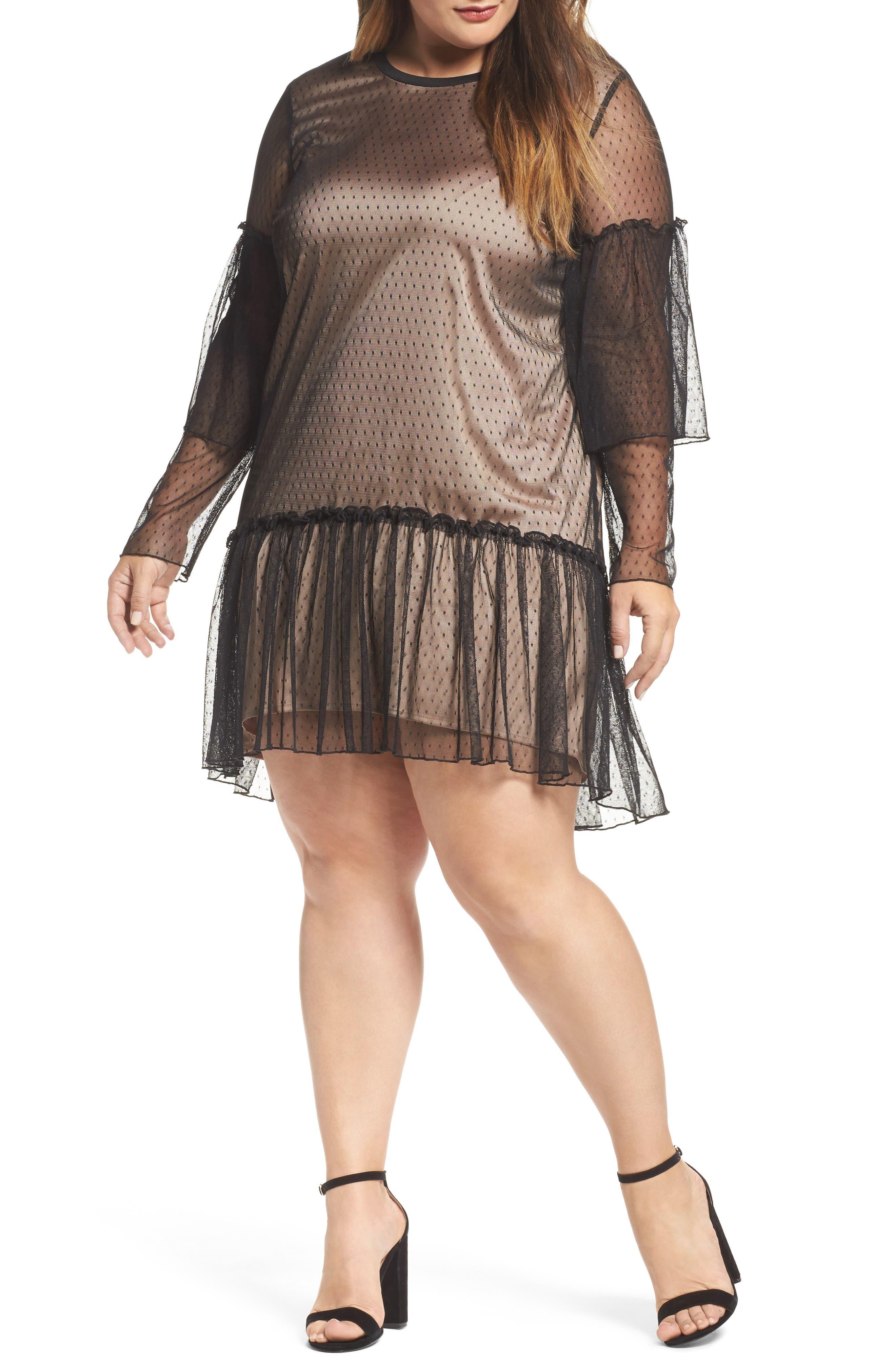 Polka Dot Net Shift Dress,                         Main,                         color, Black