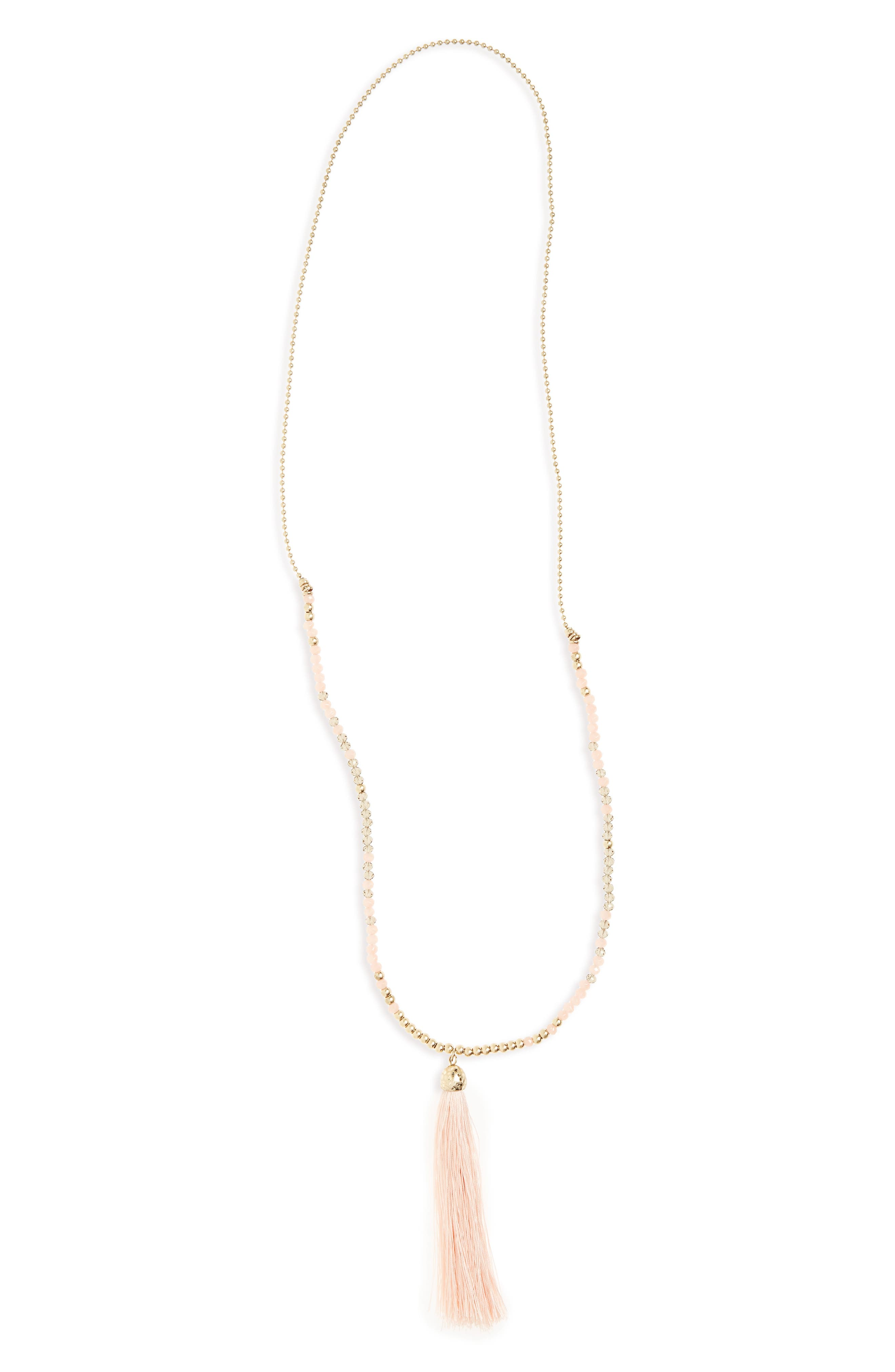 Beaded Necklace,                         Main,                         color, Peach/ Grey