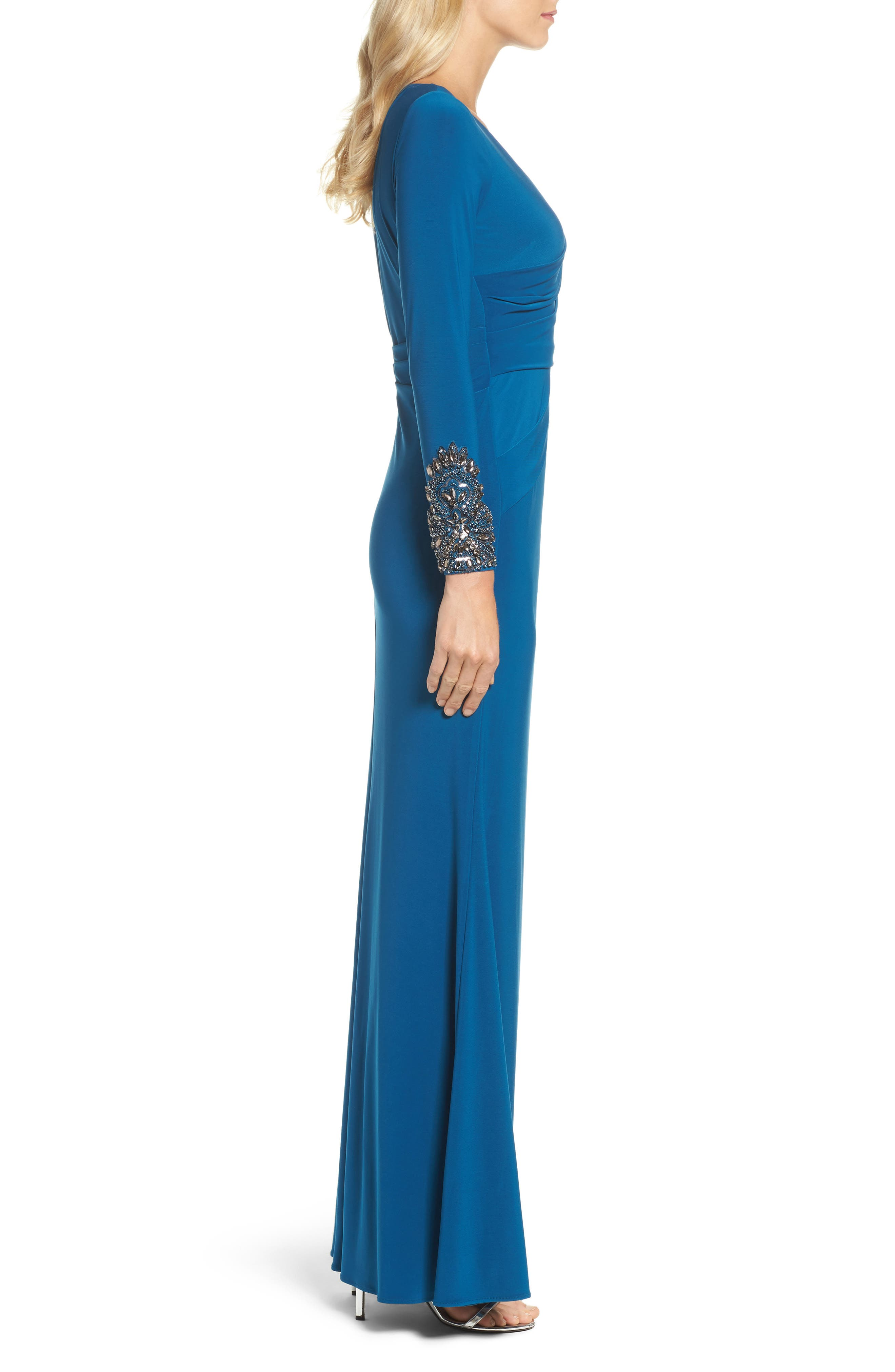 Embellished Sleeve Drape Gown,                             Alternate thumbnail 2, color,                             Evening Sky