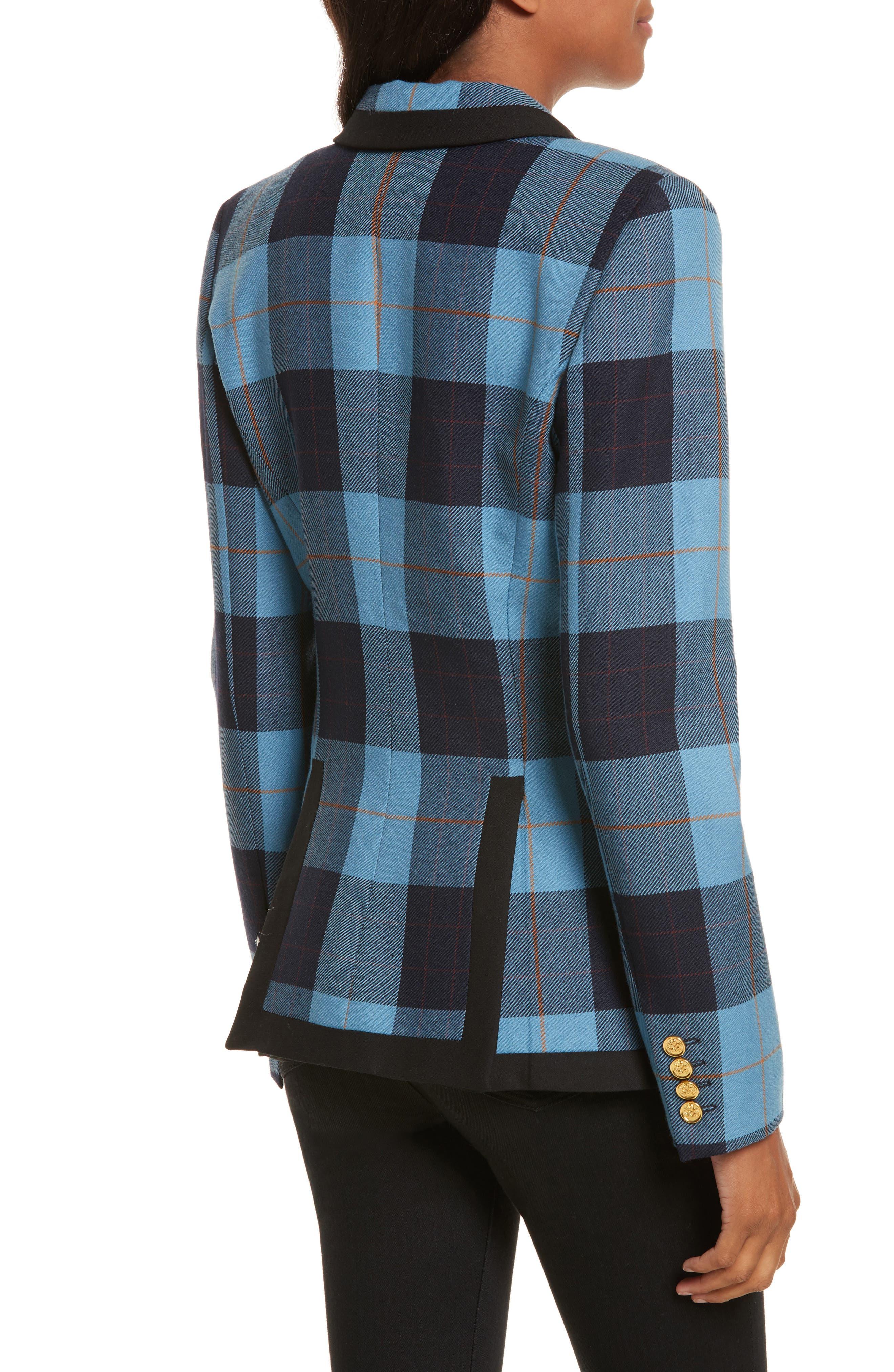 Taped Peak Lapel Plaid Blazer,                             Alternate thumbnail 2, color,                             Blue Plaid W/ Black