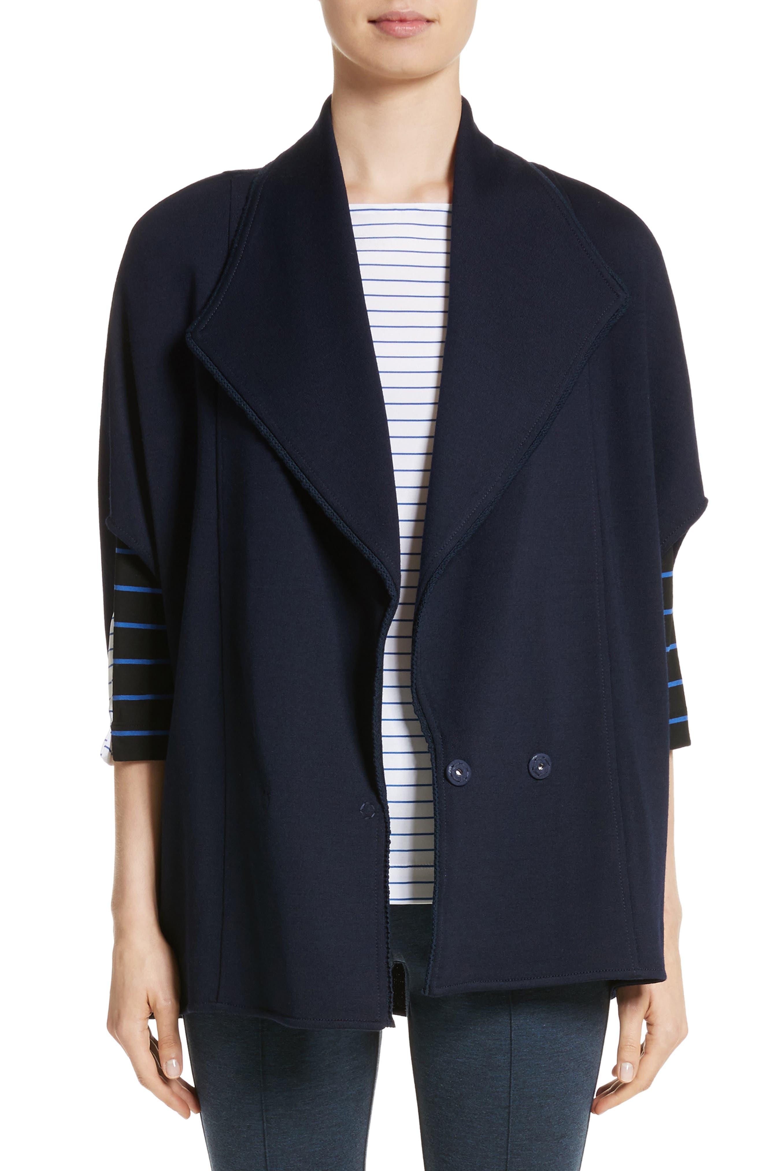 Circular Milano Knit Jacket,                             Main thumbnail 1, color,                             Navy