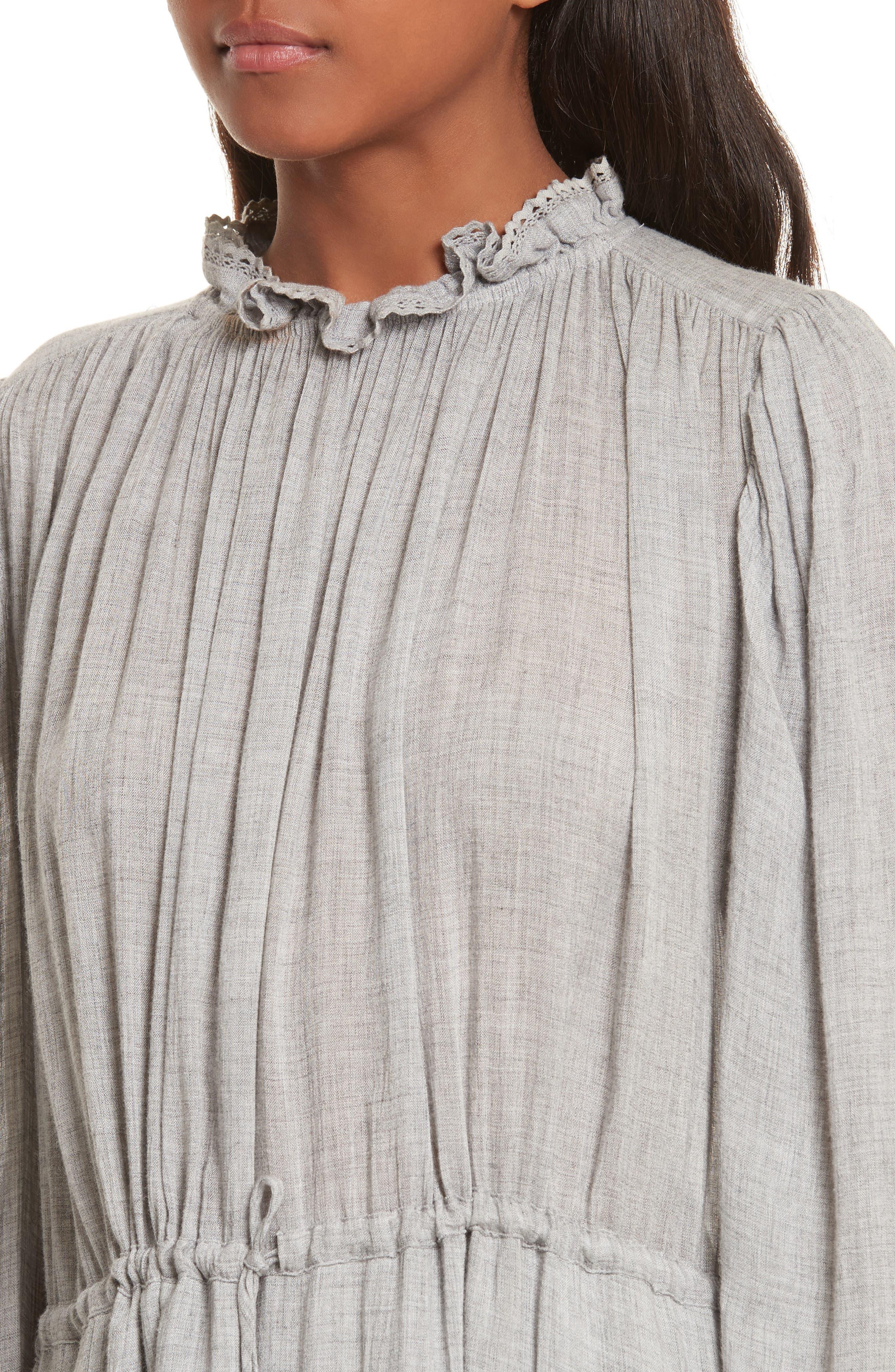 Lace Trim Gauze Drawstring Midi Dress,                             Alternate thumbnail 4, color,                             Heather Grey