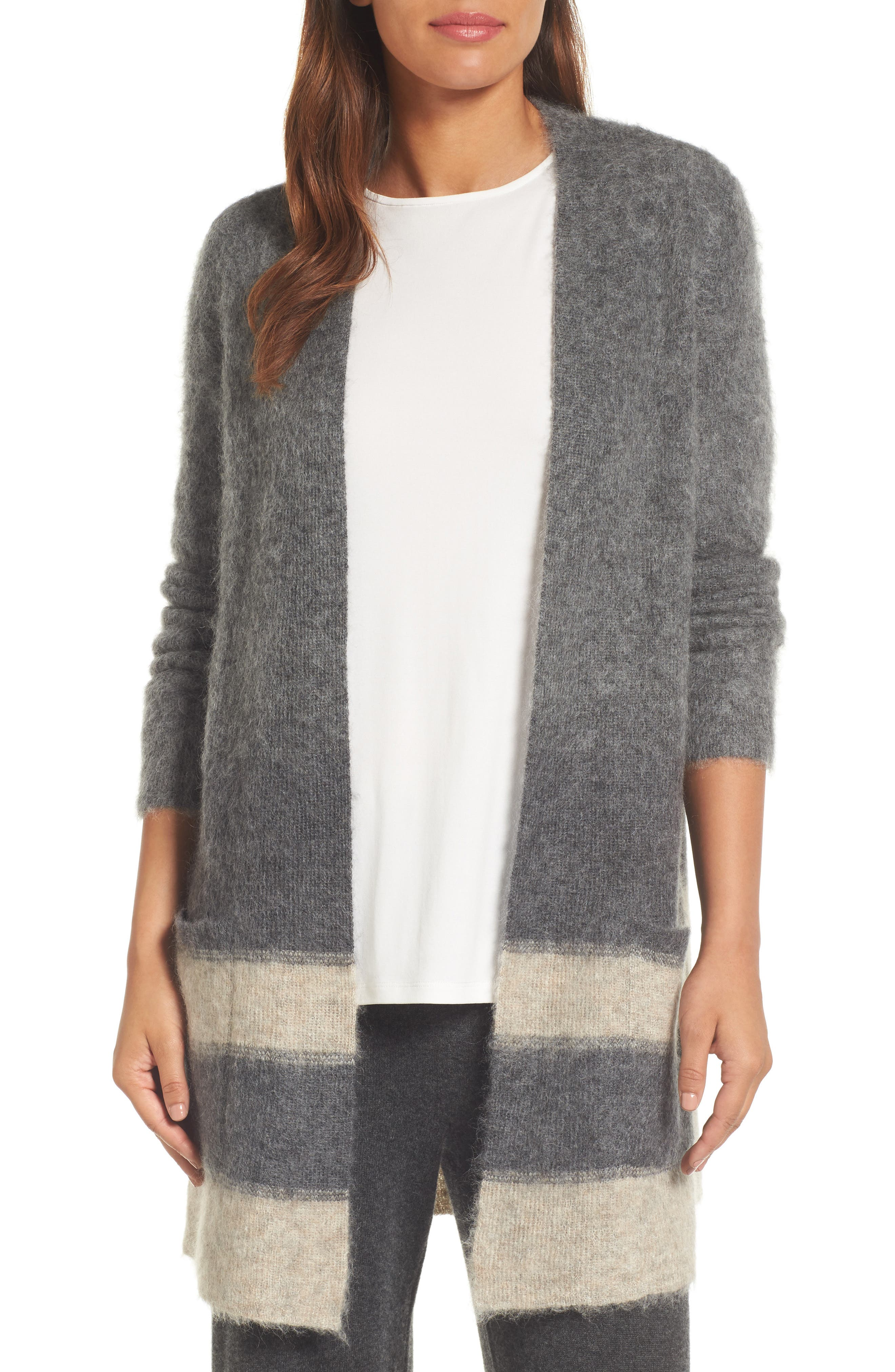 Long Open-Front Cardigan,                         Main,                         color, Maple Oat