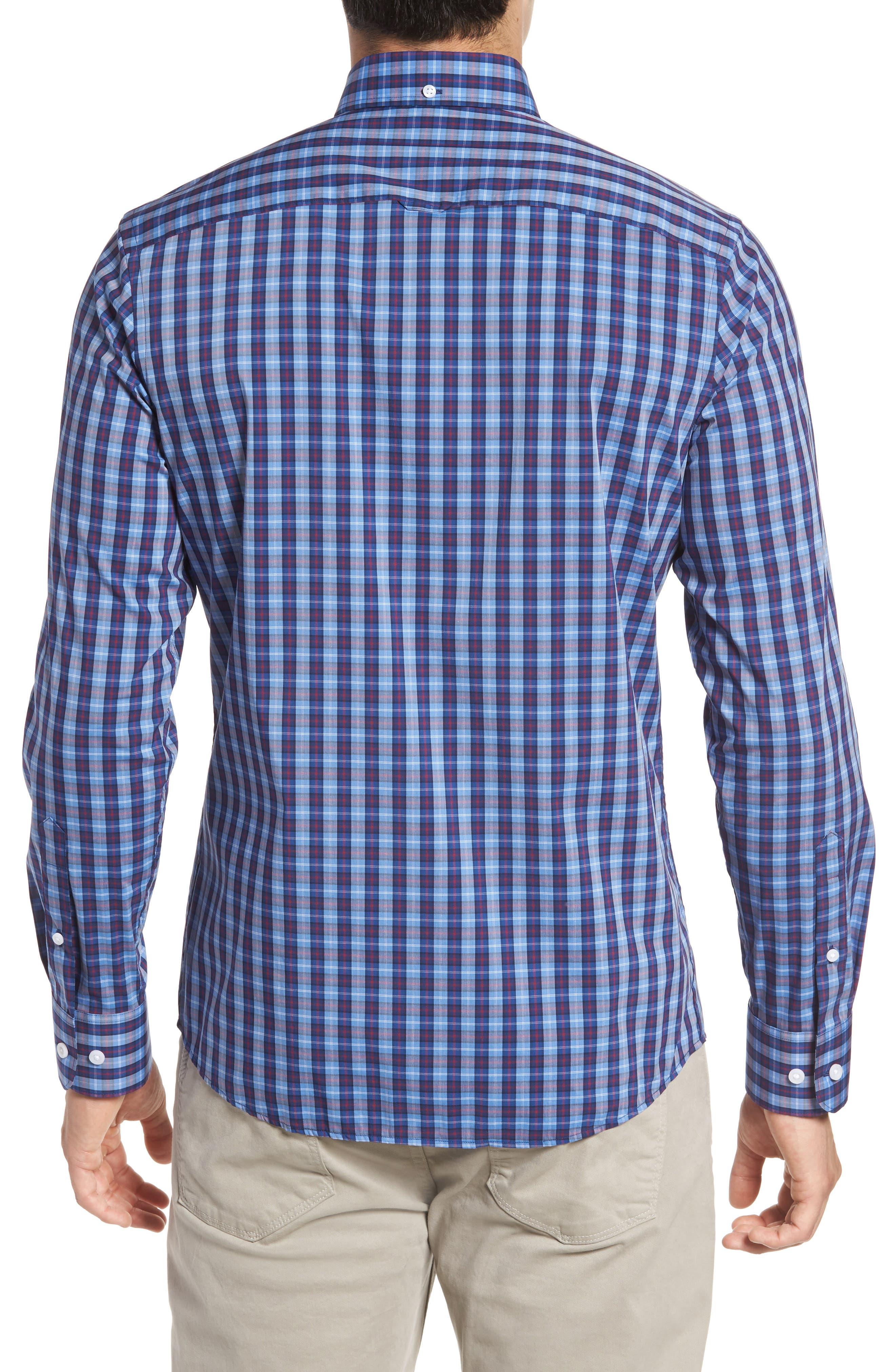 Trim Fit Tech-Smart Plaid Sport Shirt,                             Alternate thumbnail 2, color,                             Blue Hydrangea Navy Plaid