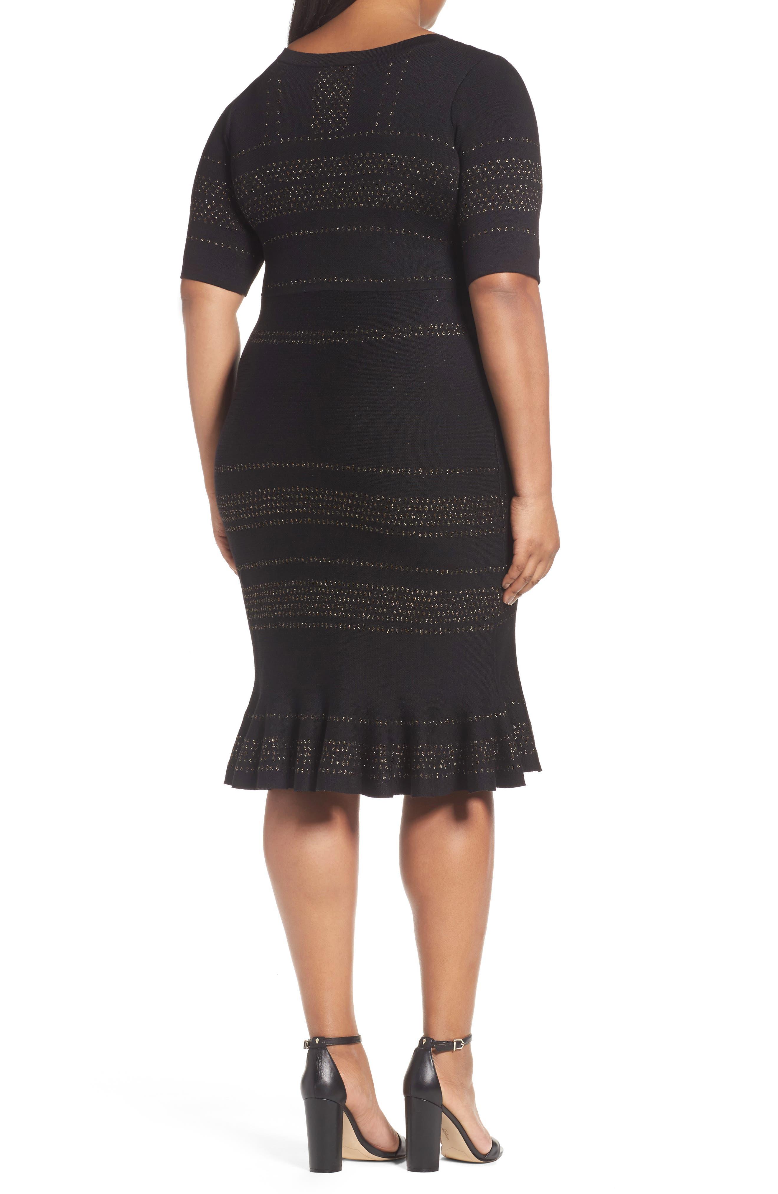 Alternate Image 2  - Taylor Dresses Metallic Knit Dress (Plus Size)