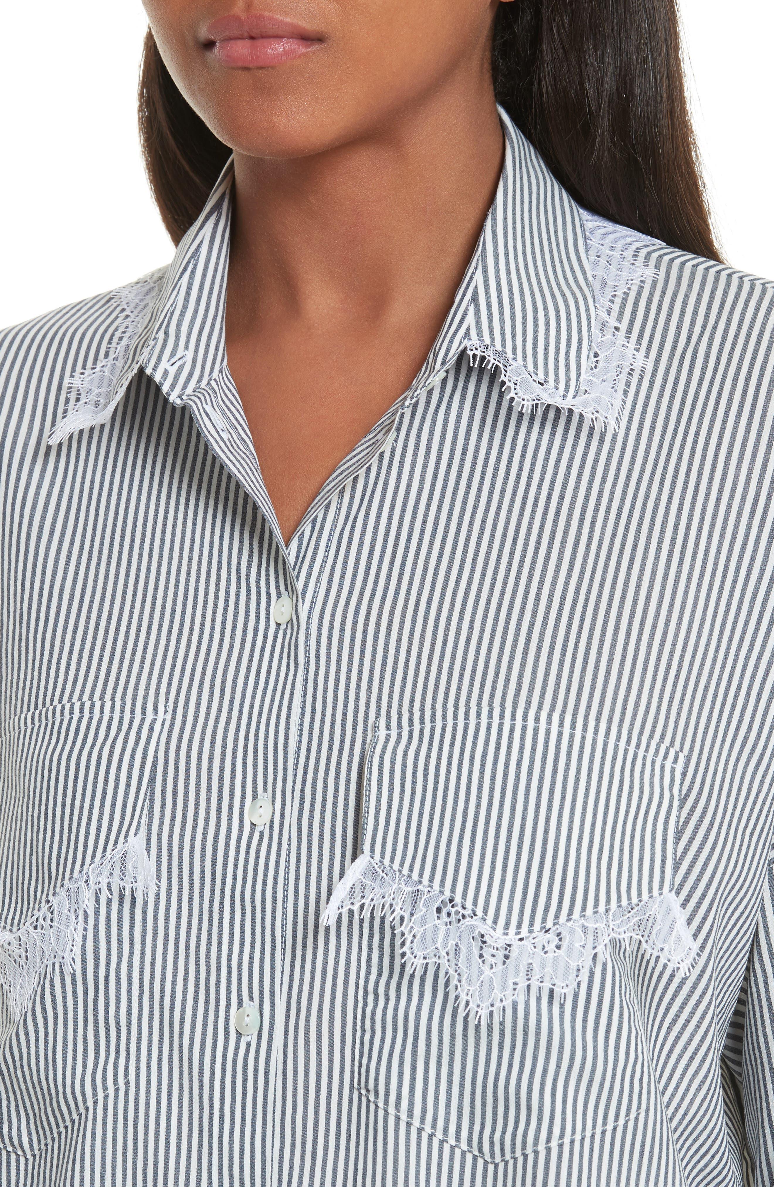 Alternate Image 4  - The Kooples James Lace Trim Stripe Shirt