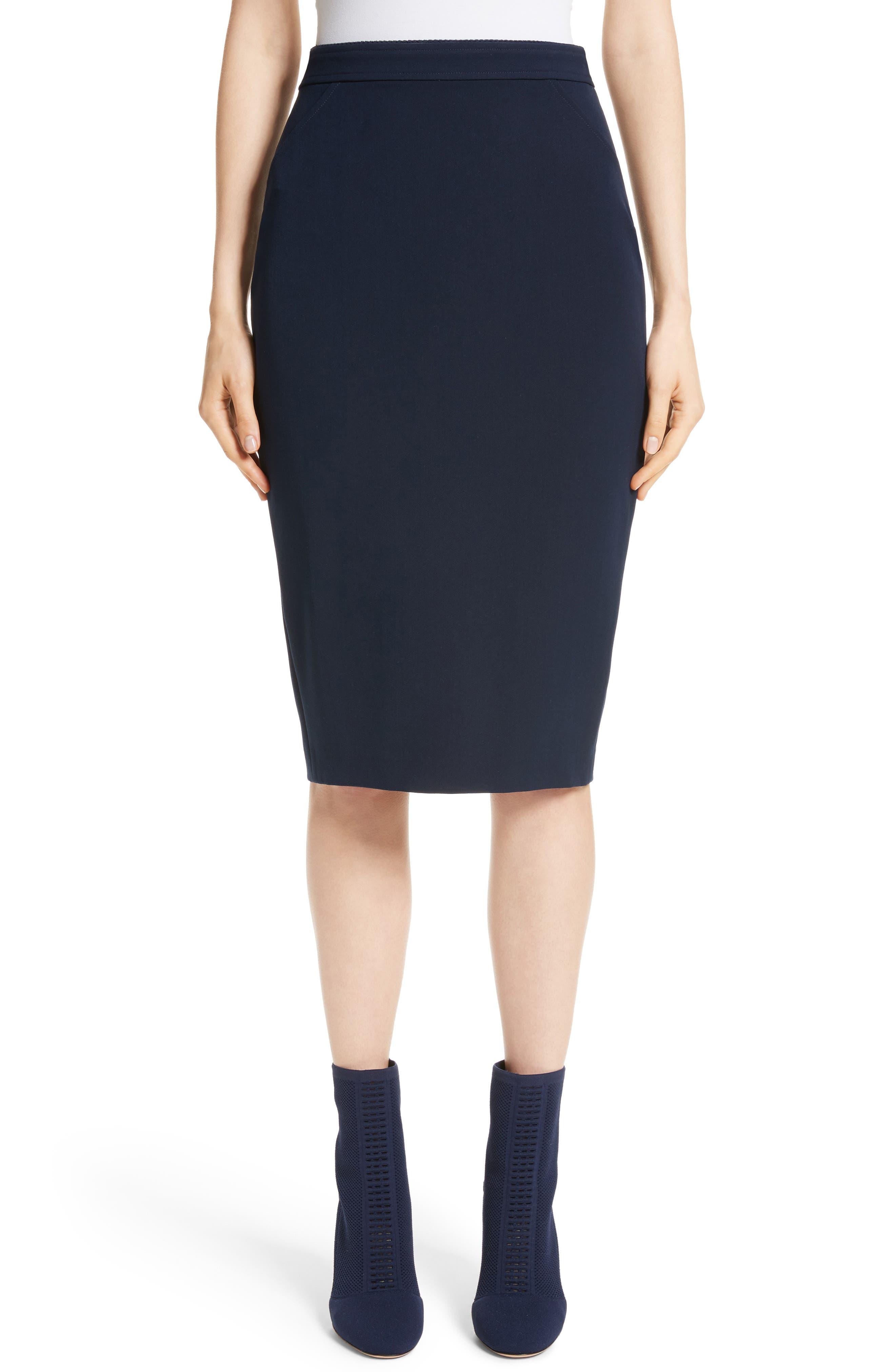 Bella Double Weave Pencil Skirt,                         Main,                         color, Navy