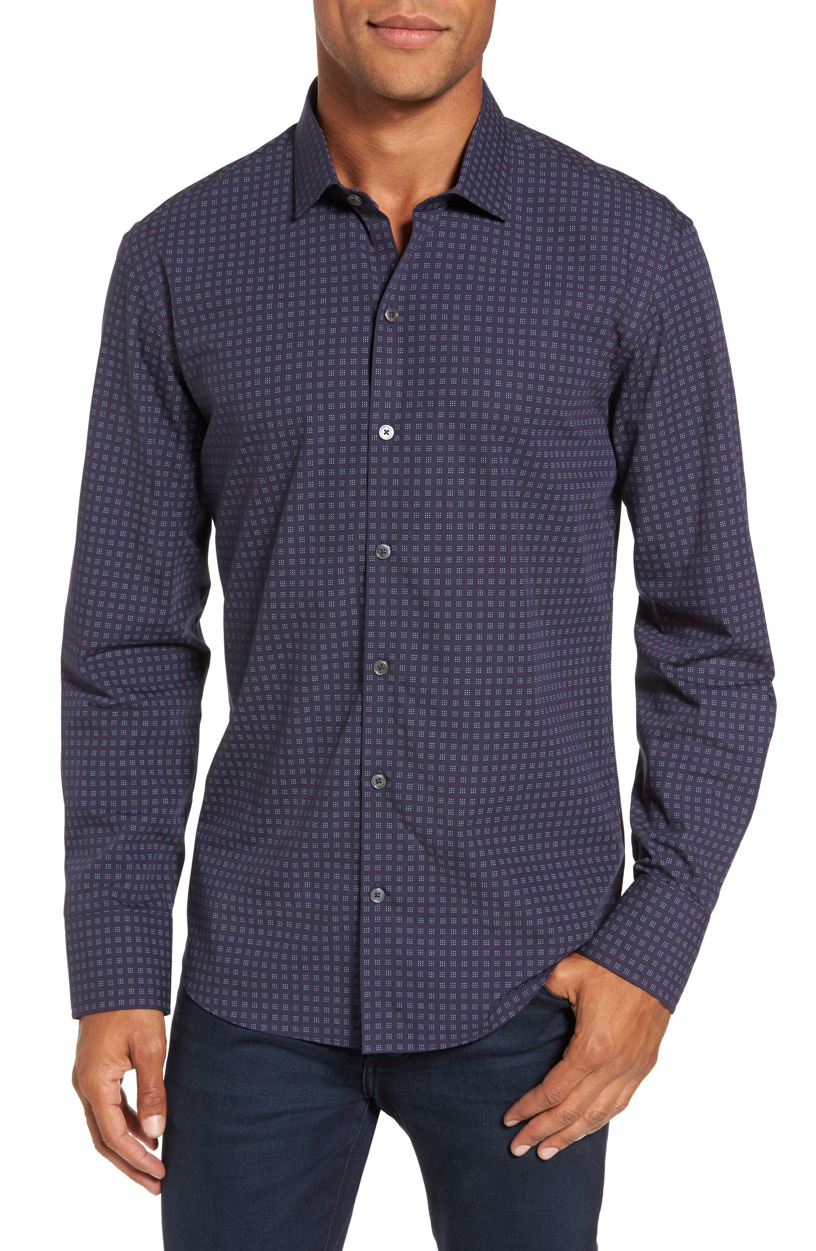 Maison Slim Fit Print Sport Shirt,                         Main,                         color, Navy