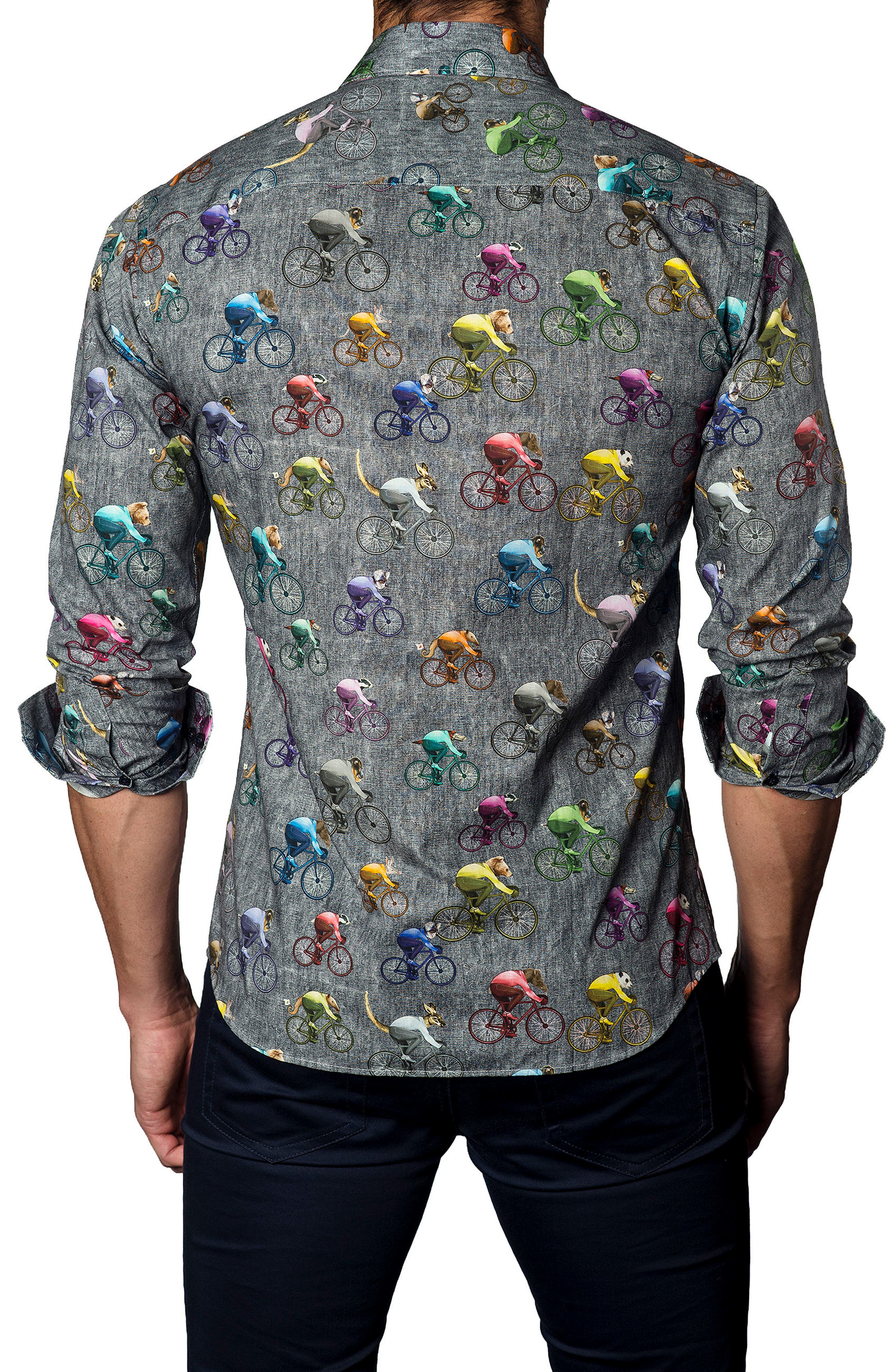 Alternate Image 2  - Jared Lang Trim Fit Bicycling Animals Sport Shirt