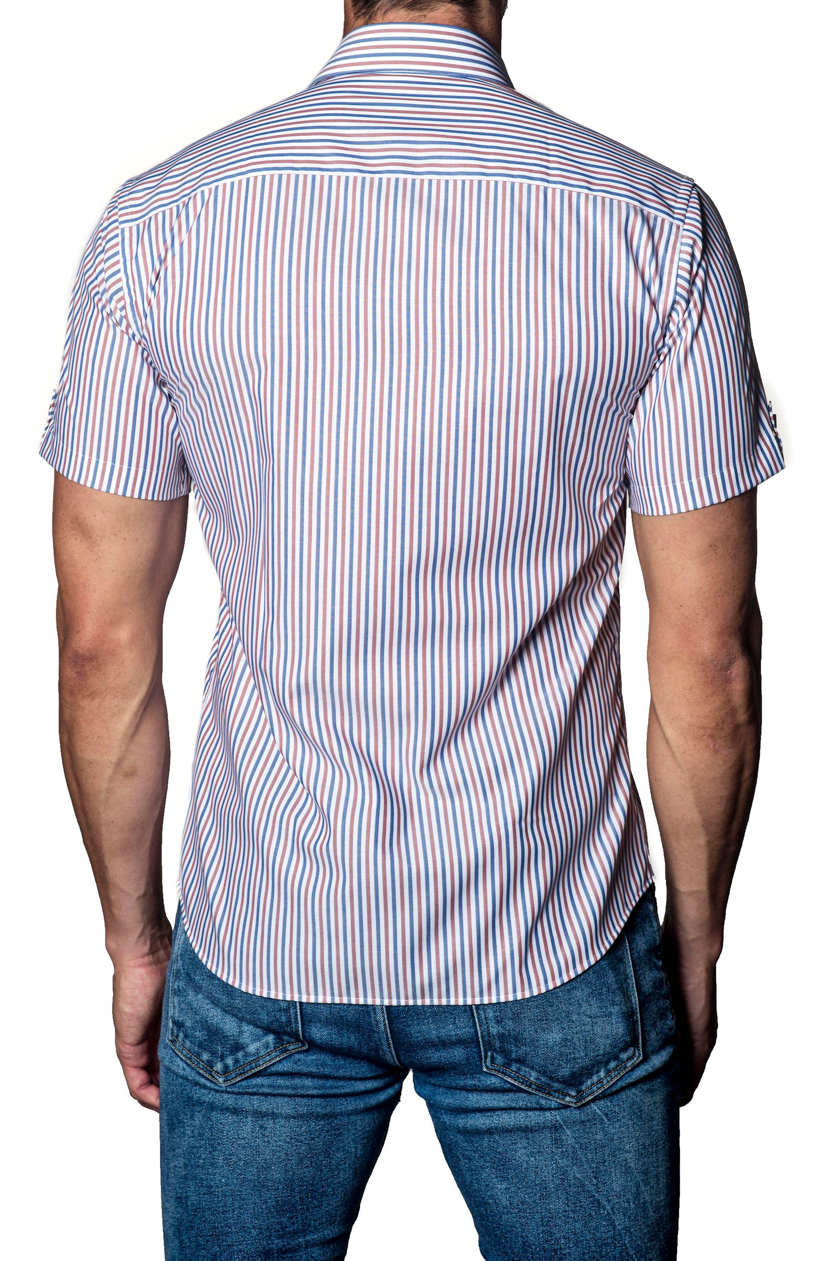 Stripe Sport Shirt,                             Alternate thumbnail 2, color,                             White / Brown/ Blue Stripe