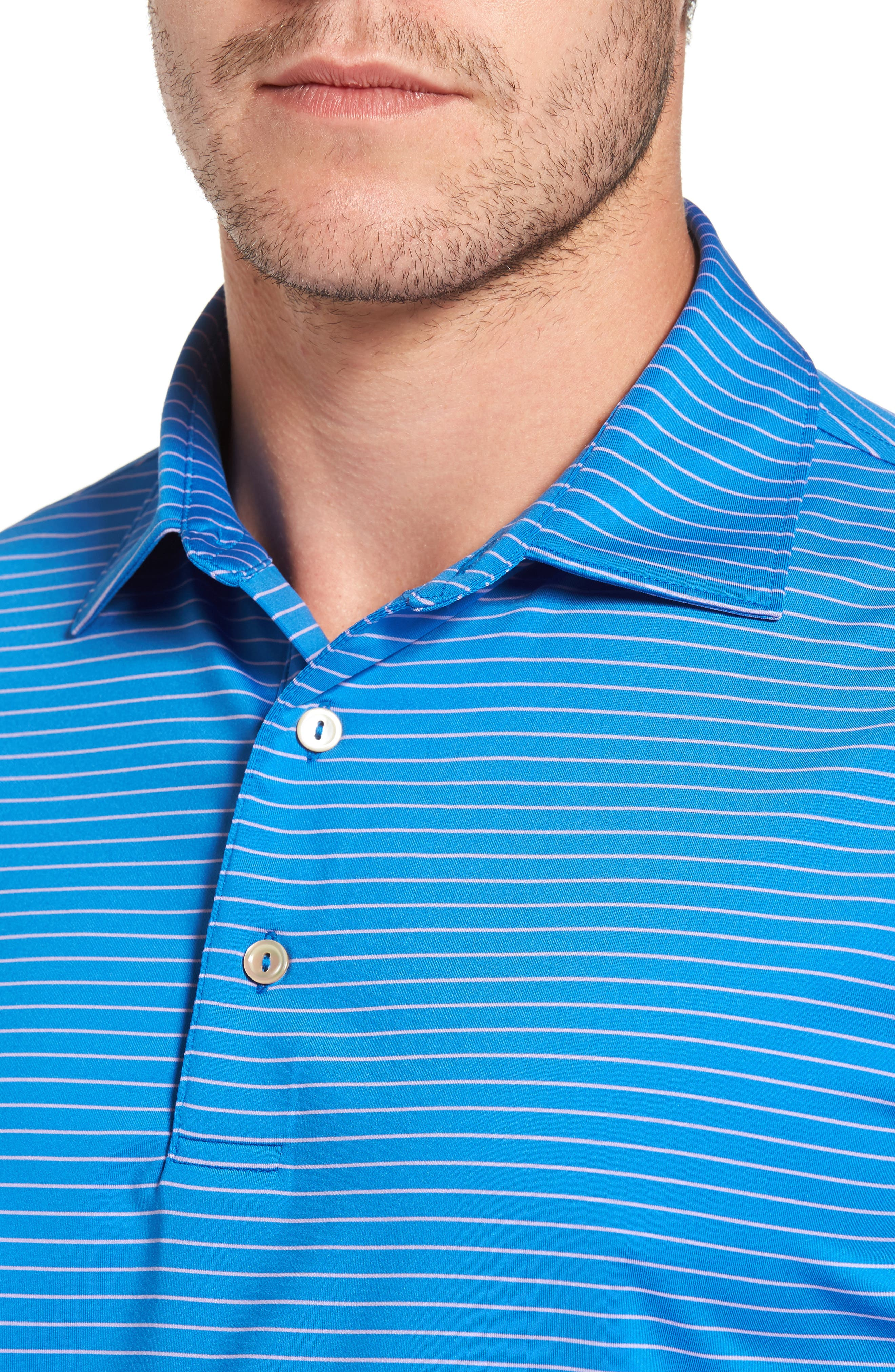 Stripe Polo,                             Alternate thumbnail 4, color,                             Parisian Blue