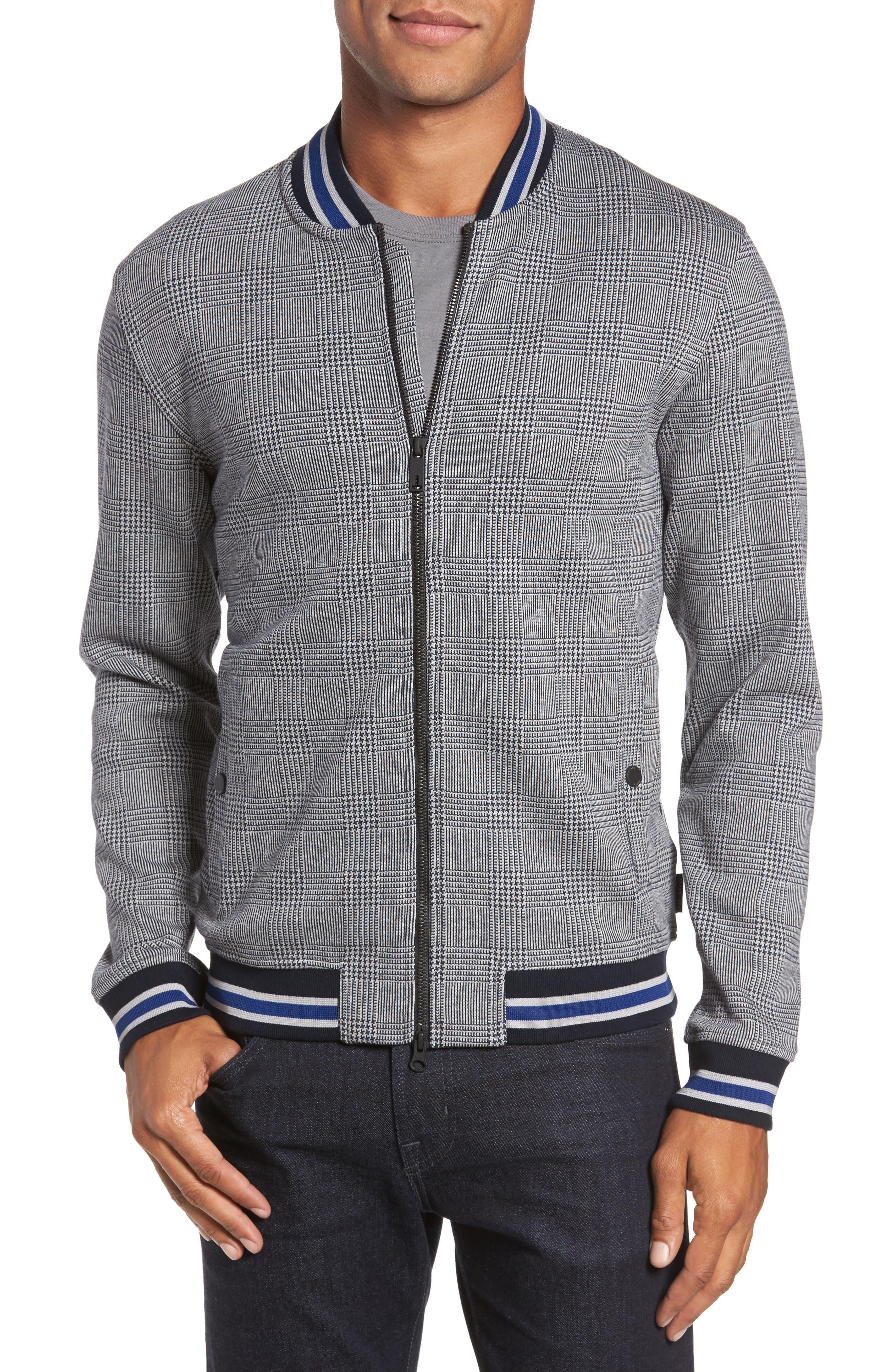 Kinga Check Bomber Jacket,                         Main,                         color, Grey