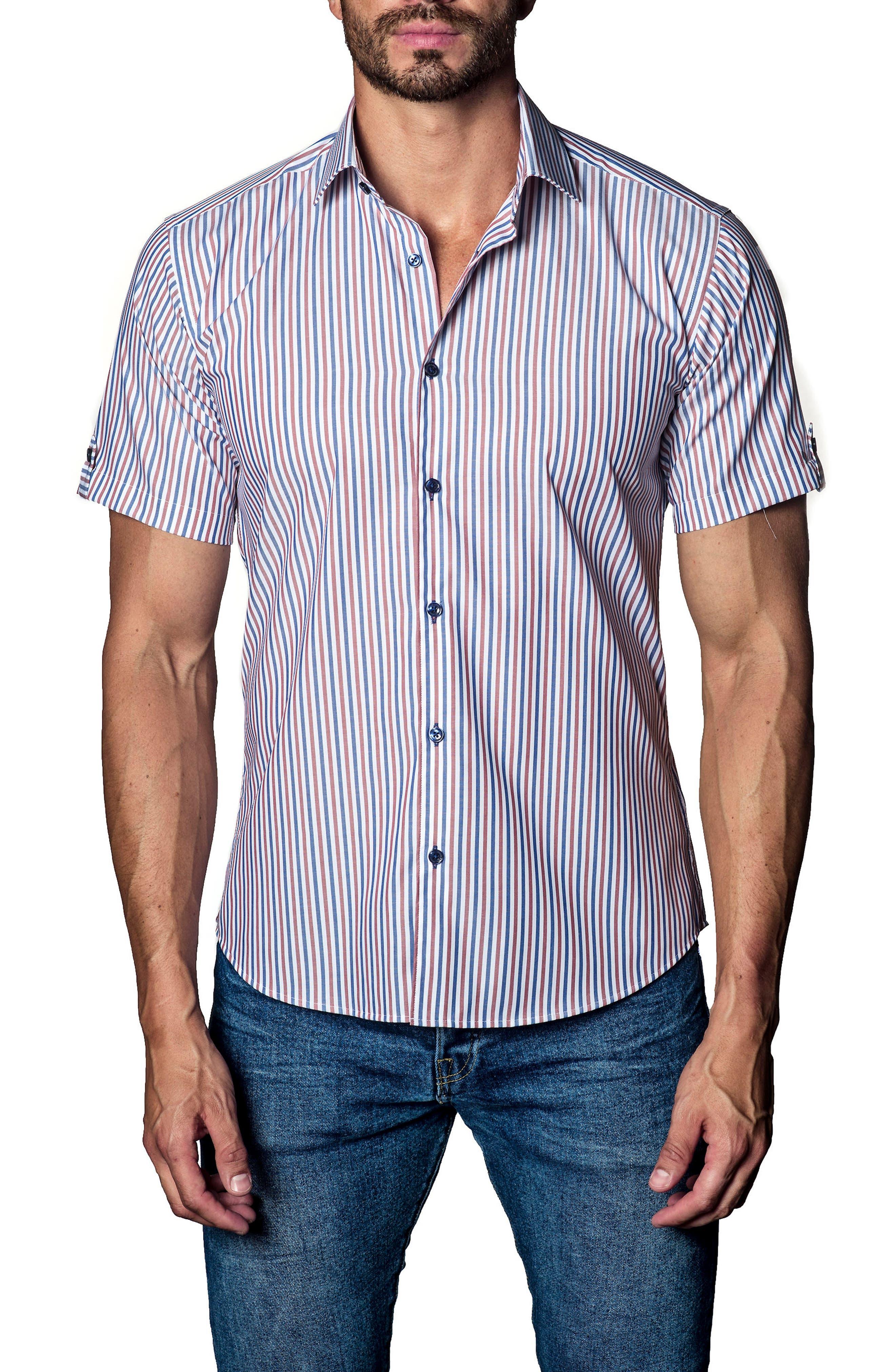 Stripe Sport Shirt,                         Main,                         color, White / Brown/ Blue Stripe