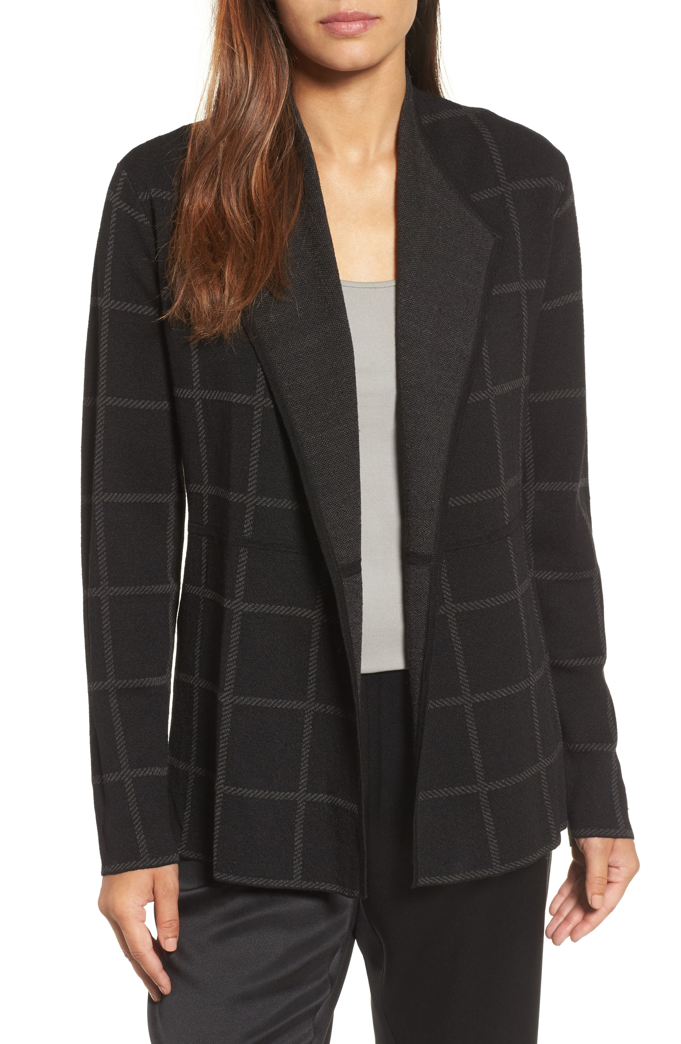 Main Image - Eileen Fisher Linen Blend Angle Front Cardigan