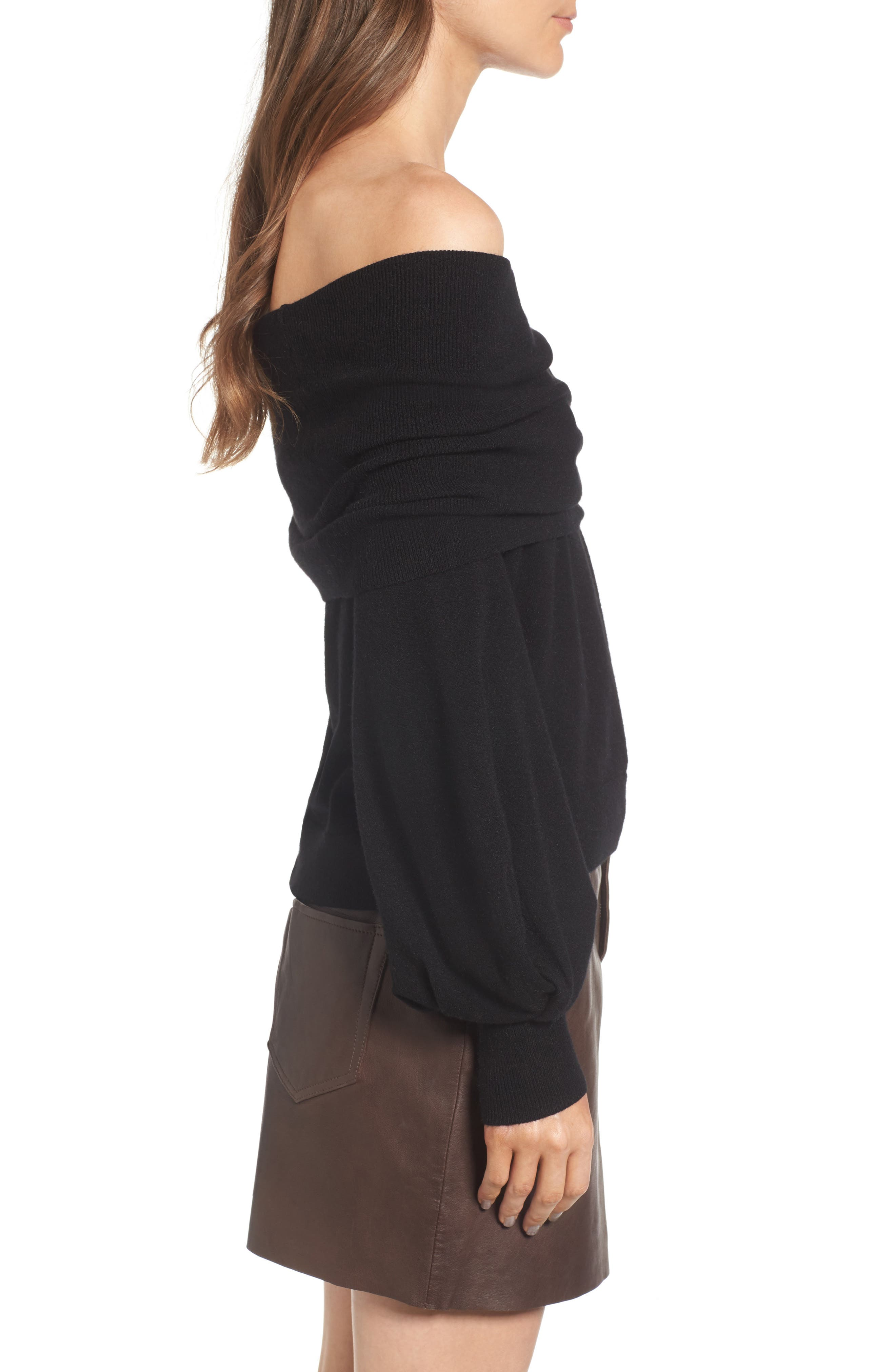 x Something Navy Off the Shoulder Sweater,                             Alternate thumbnail 3, color,                             Black