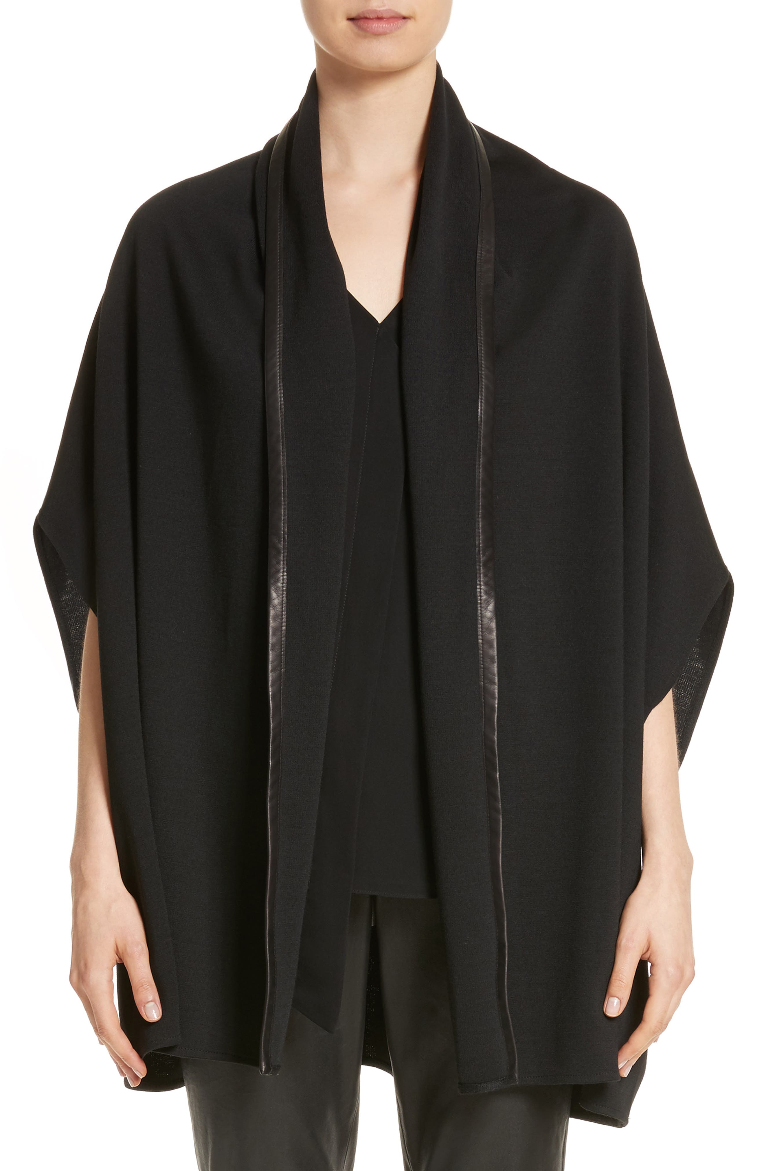 St. John Collection Leather Trim Milano Knit Cardigan