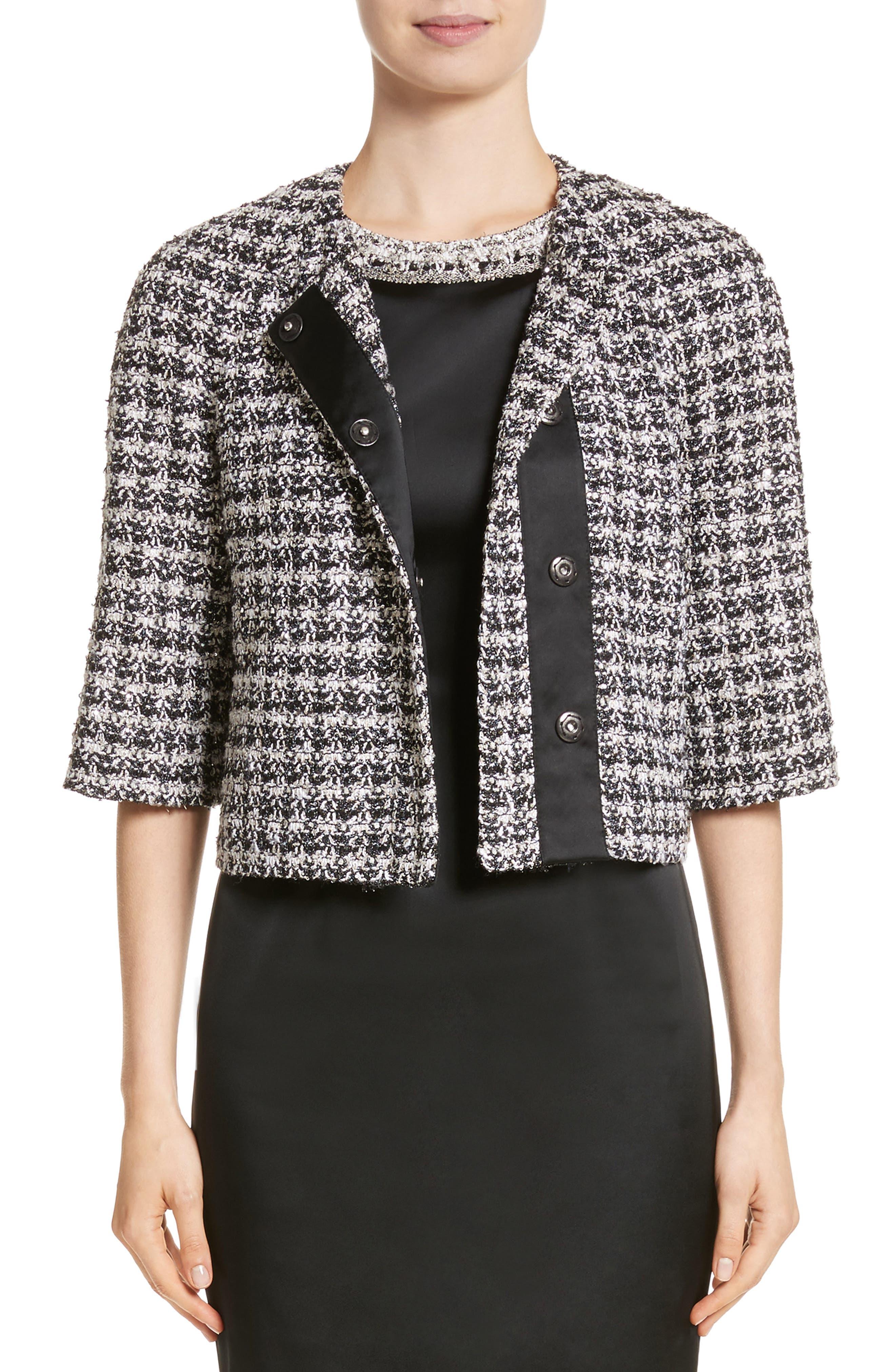 Metallic Plaid Tweed Jacket,                         Main,                         color, Caviar Multi