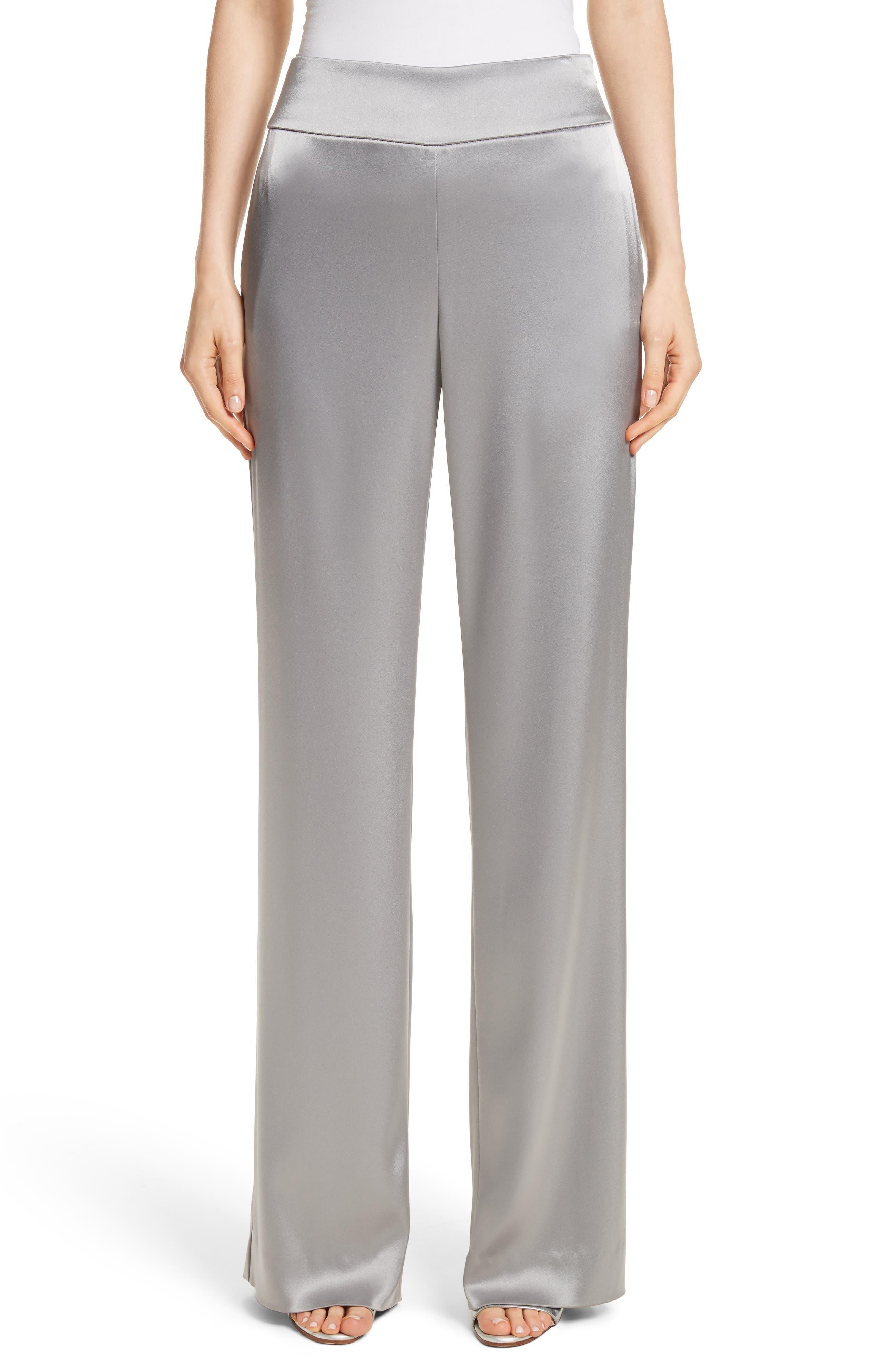 Liquid Satin Pants,                         Main,                         color, Grey
