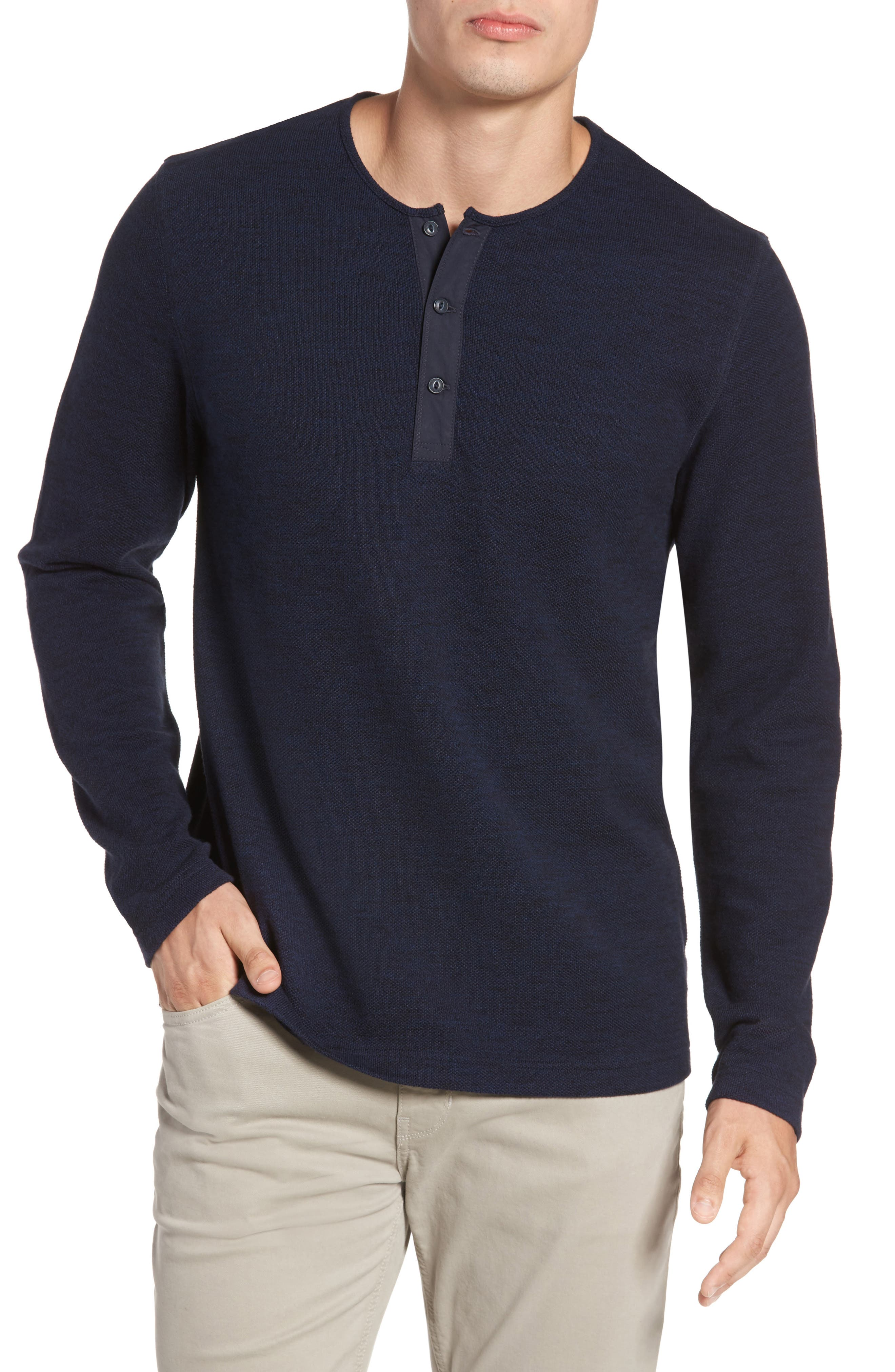 Hacci Knit Henley,                             Main thumbnail 1, color,                             Navy Medieval Melange