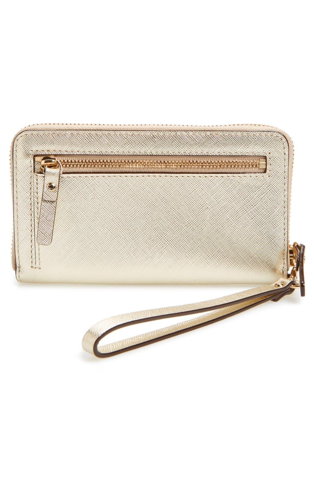'cedar street - jordie' zip around leather wallet,                             Alternate thumbnail 4, color,                             Gold