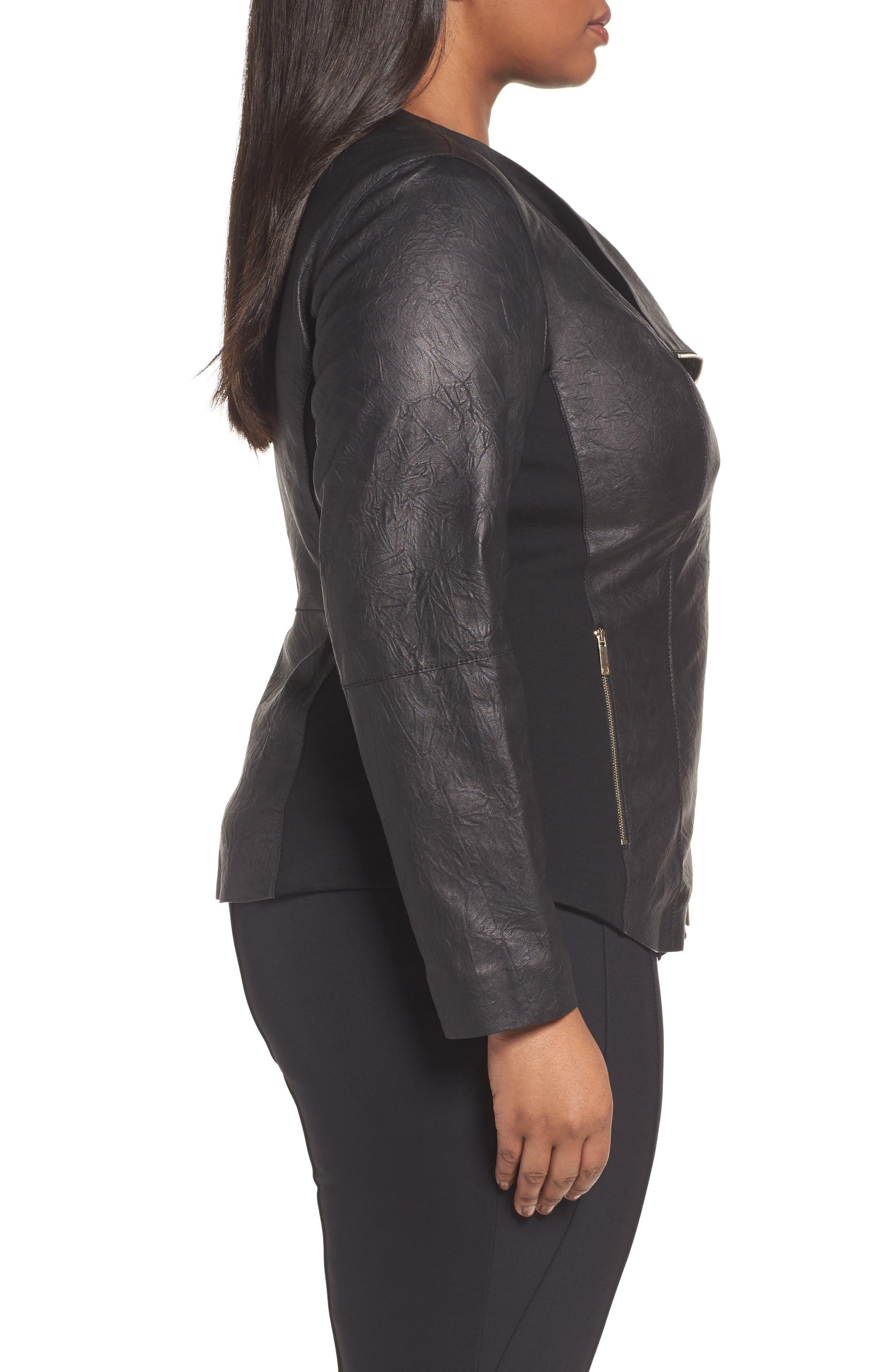 Aimes Leather Jacket,                             Alternate thumbnail 3, color,                             Black