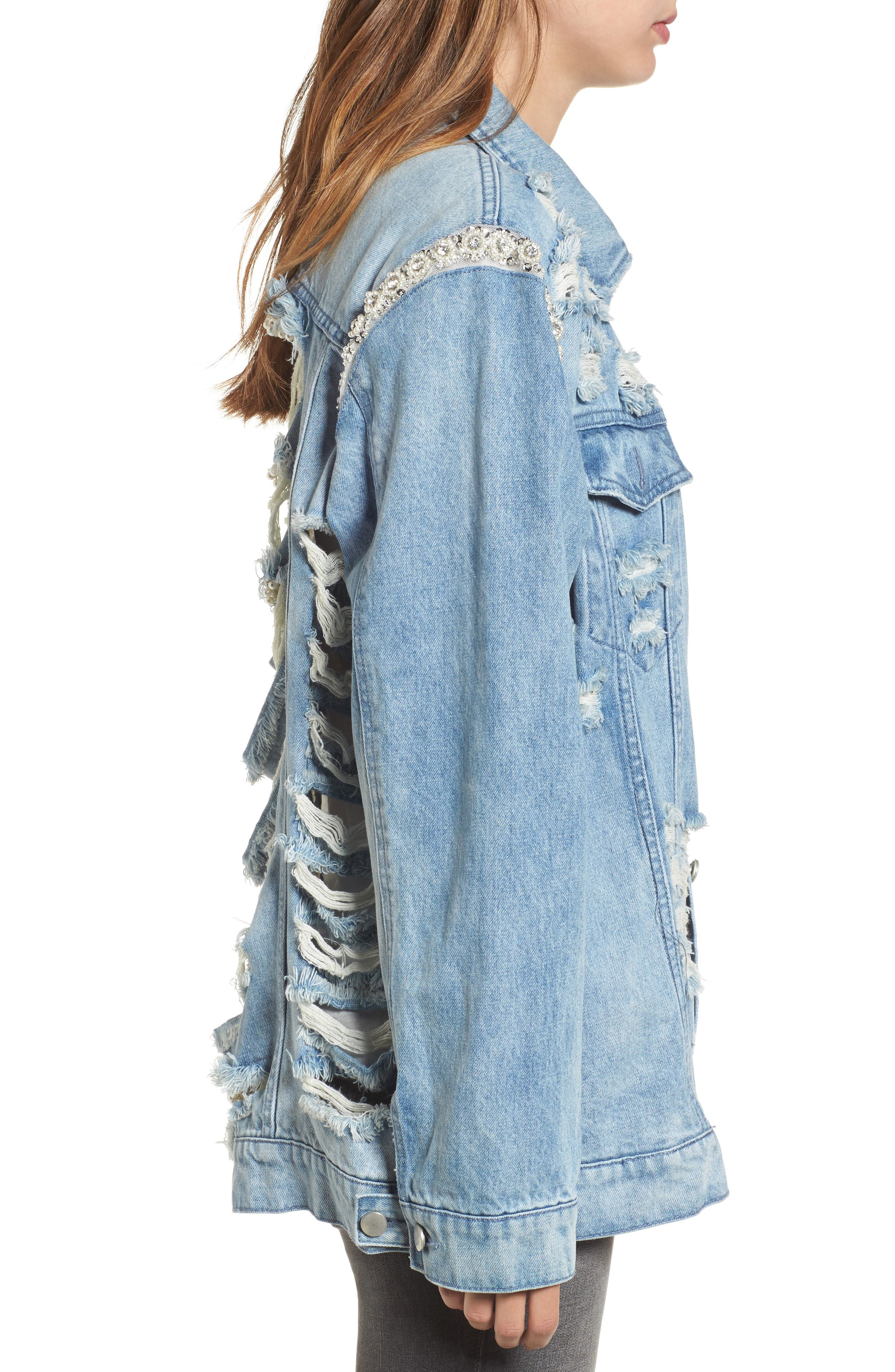 Embellished Ripped Denim Jacket,                             Alternate thumbnail 3, color,                             Blue W/ Pearls & Diamonds
