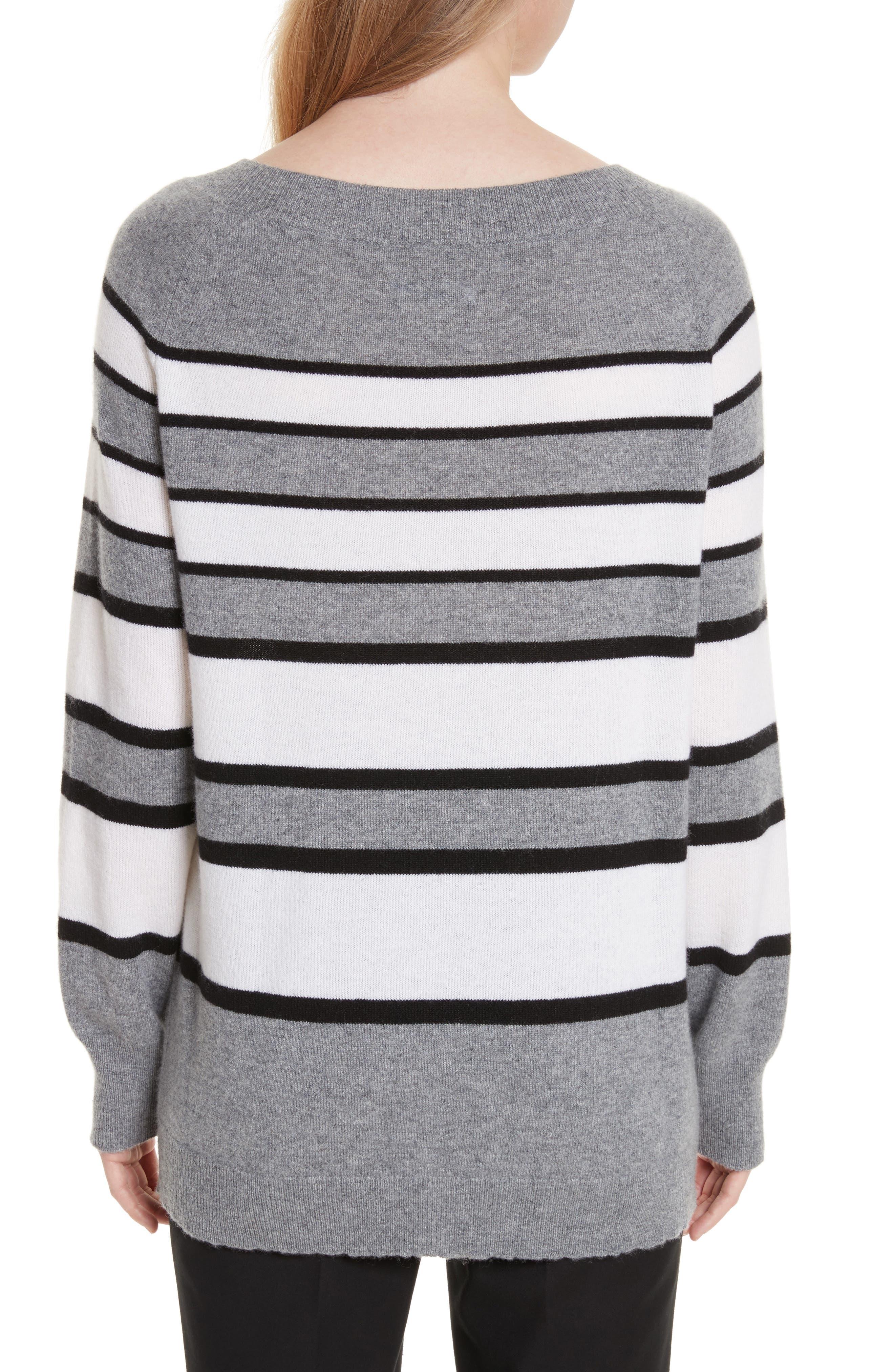 Cody Stripe Cashmere Boat Neck Sweater,                             Alternate thumbnail 2, color,                             Heather Grey Multi
