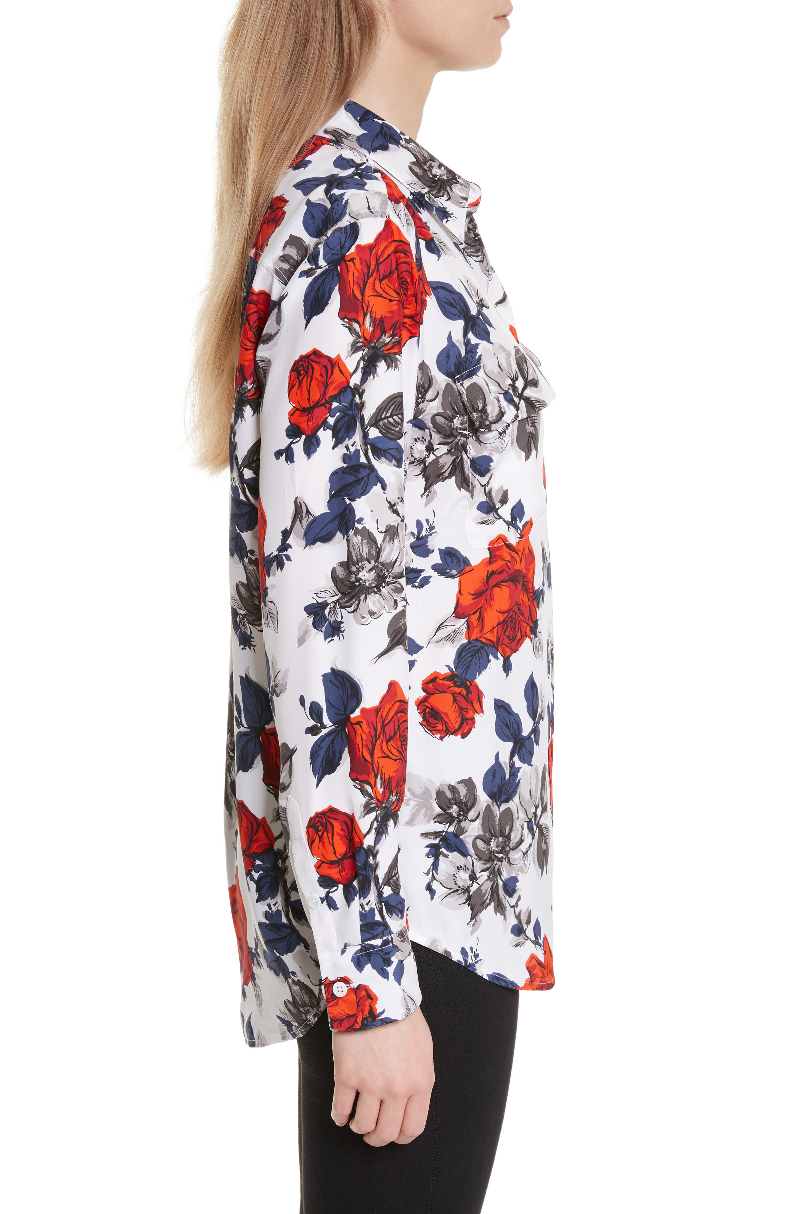 Signature Floral Silk Shirt,                             Alternate thumbnail 3, color,                             Bright White Multi