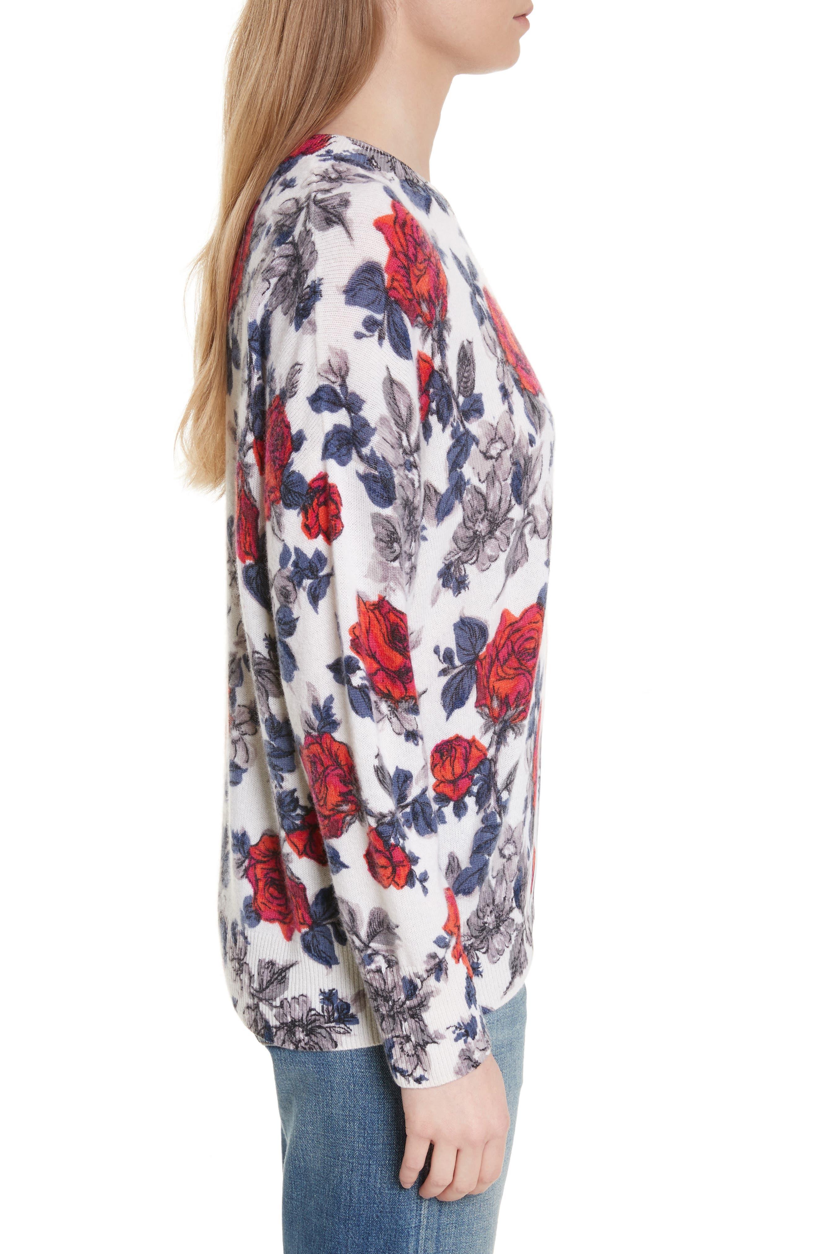 Melanie Flower Print Cashmere Sweater,                             Alternate thumbnail 3, color,                             Ivory Multi
