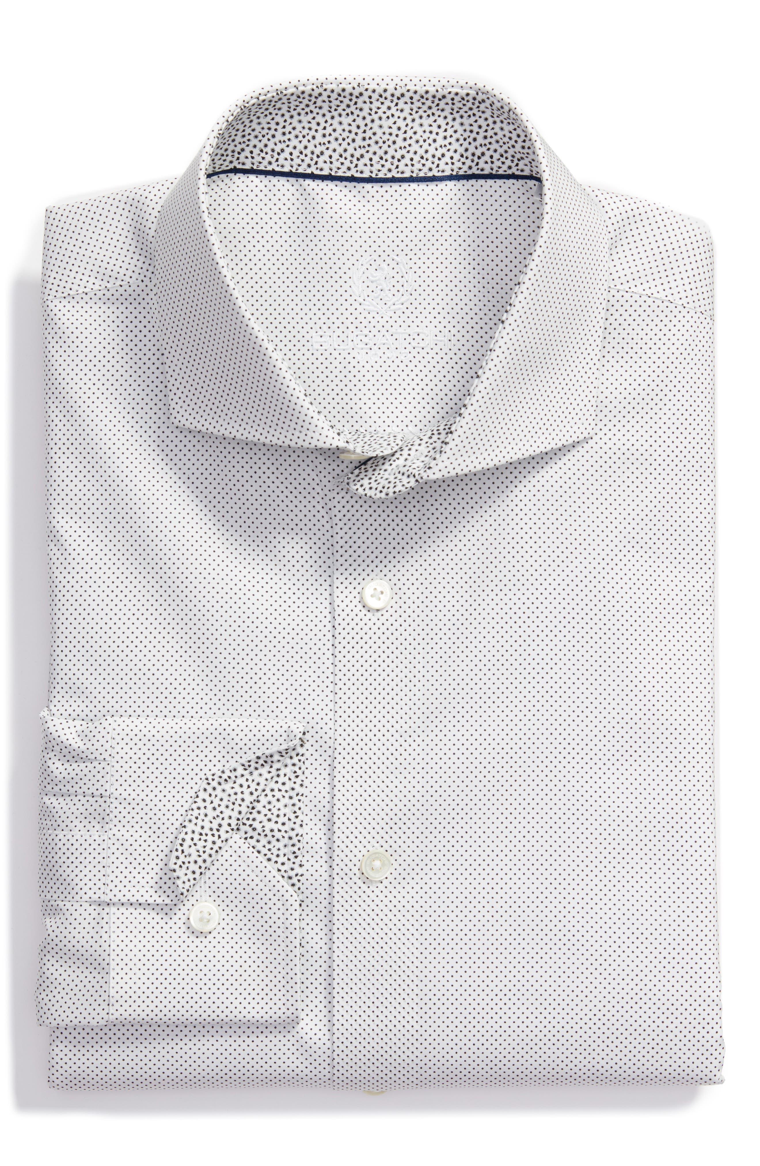 Trim Fit Dress Shirt,                         Main,                         color, Chalk