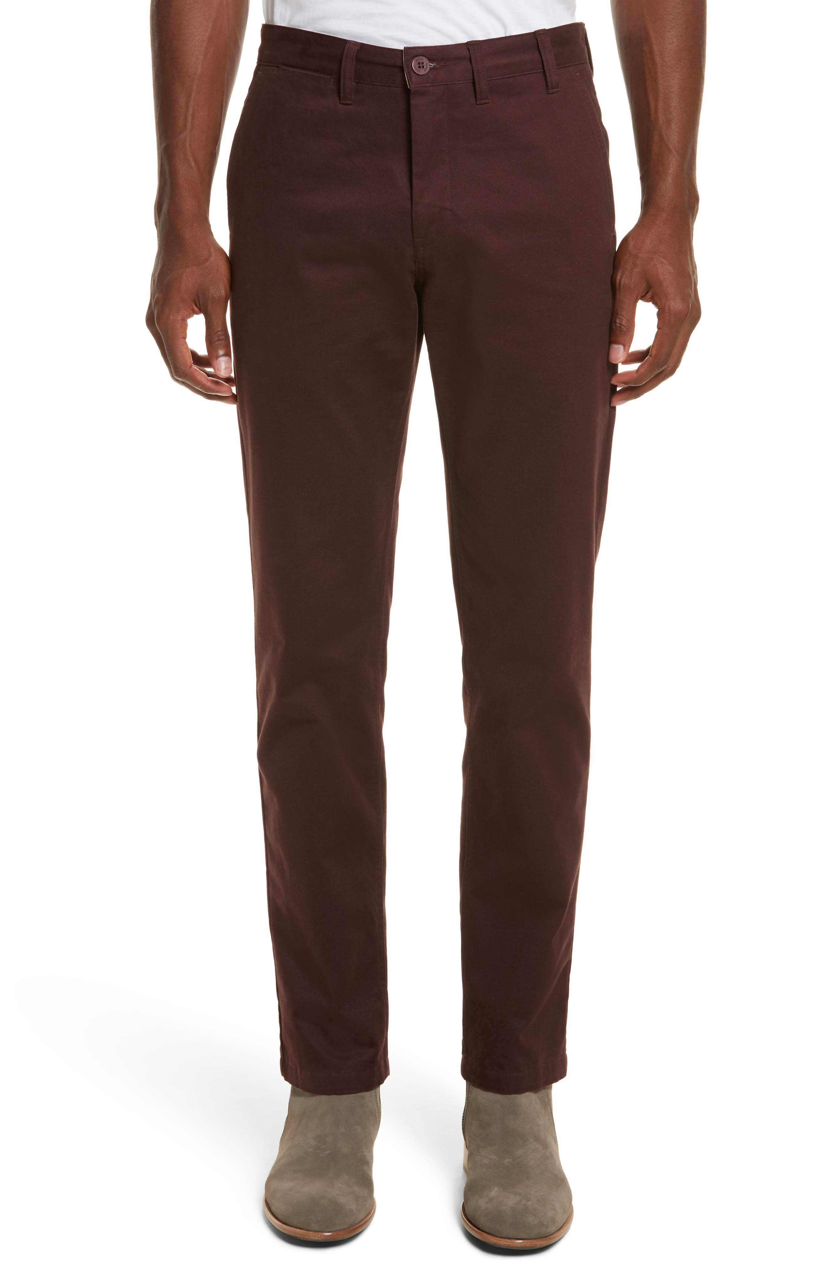 Aros Brushed Twill Chinos,                         Main,                         color, Hematite Red