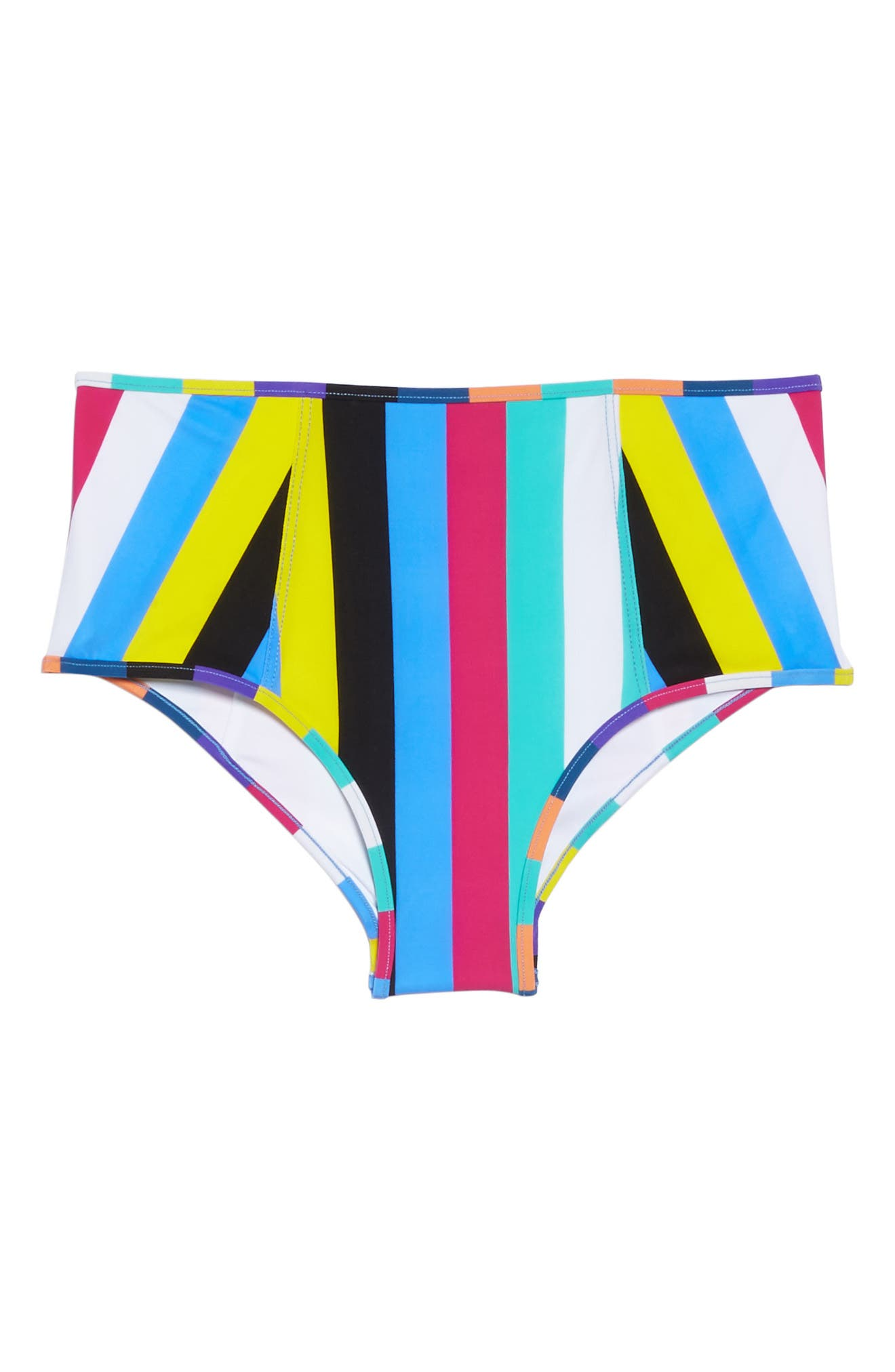 High Waist Swim Briefs,                             Alternate thumbnail 6, color,                             Harper Stripe Multi